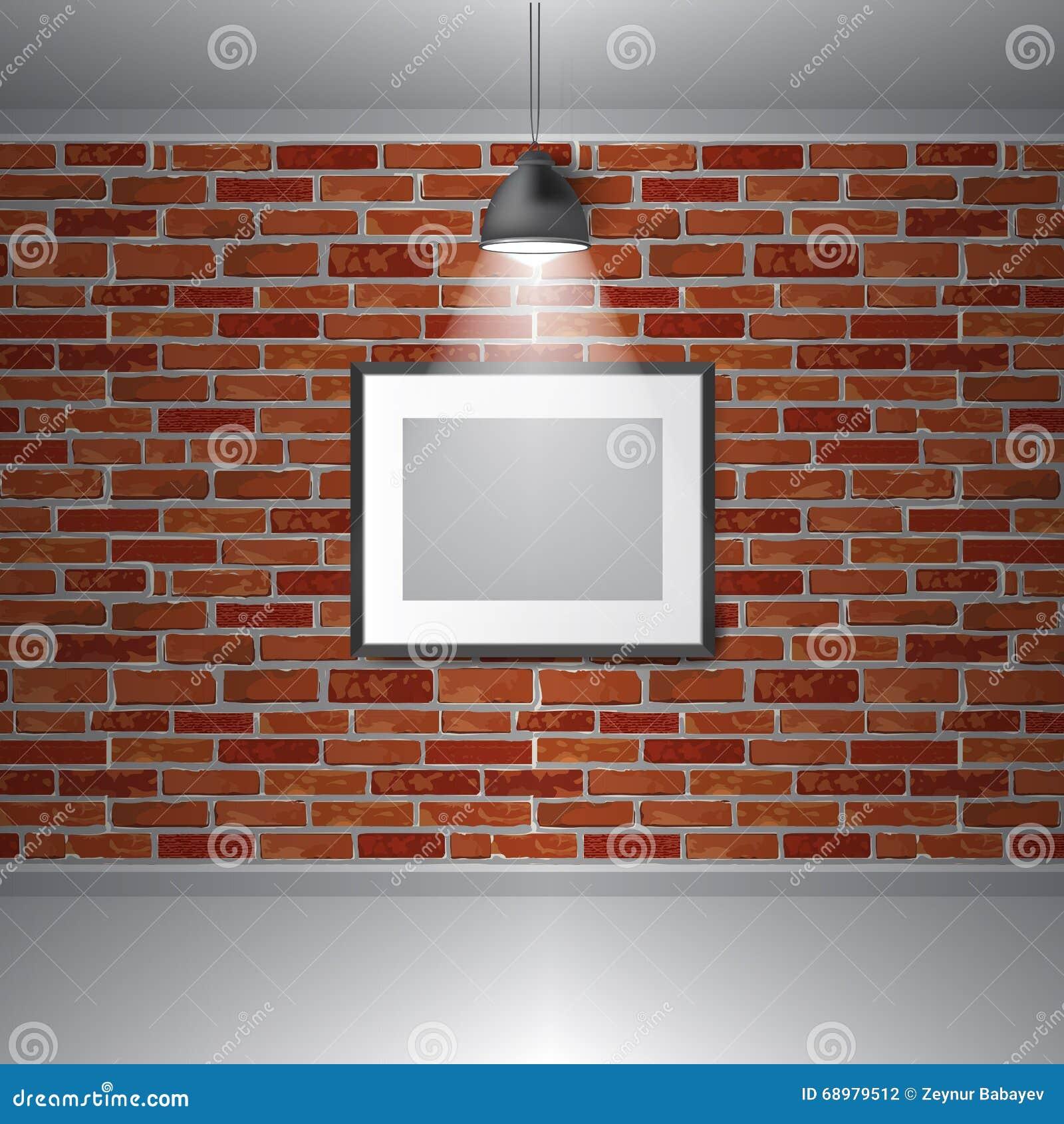Wektorowy galerii wystawy wnętrze Obrazek ramy na ściana z cegieł