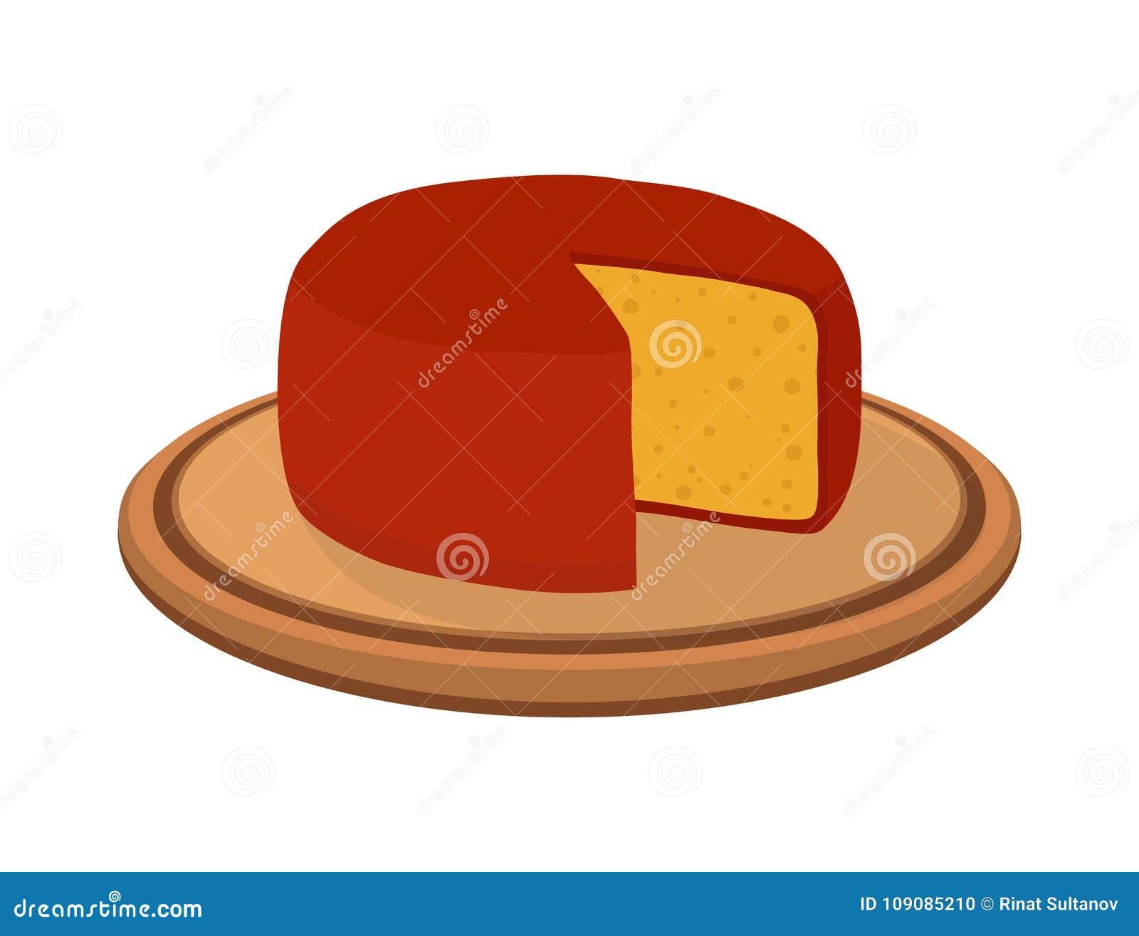 Wektorowy gouda ser na talerzu Plasterek, kawał na drewnianej tacy Kreskówki mieszkania styl