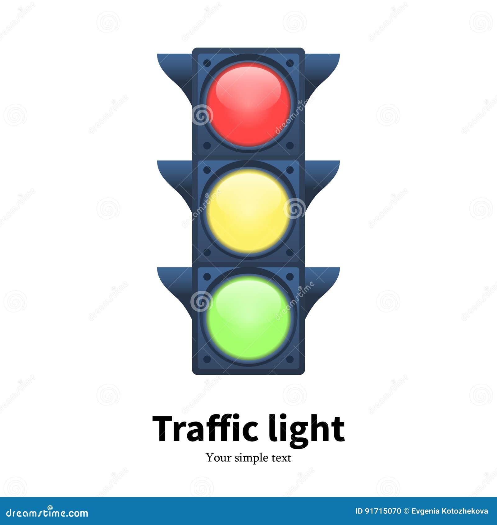 Wektorowy ilustracyjny świecący światła ruchu sygnał