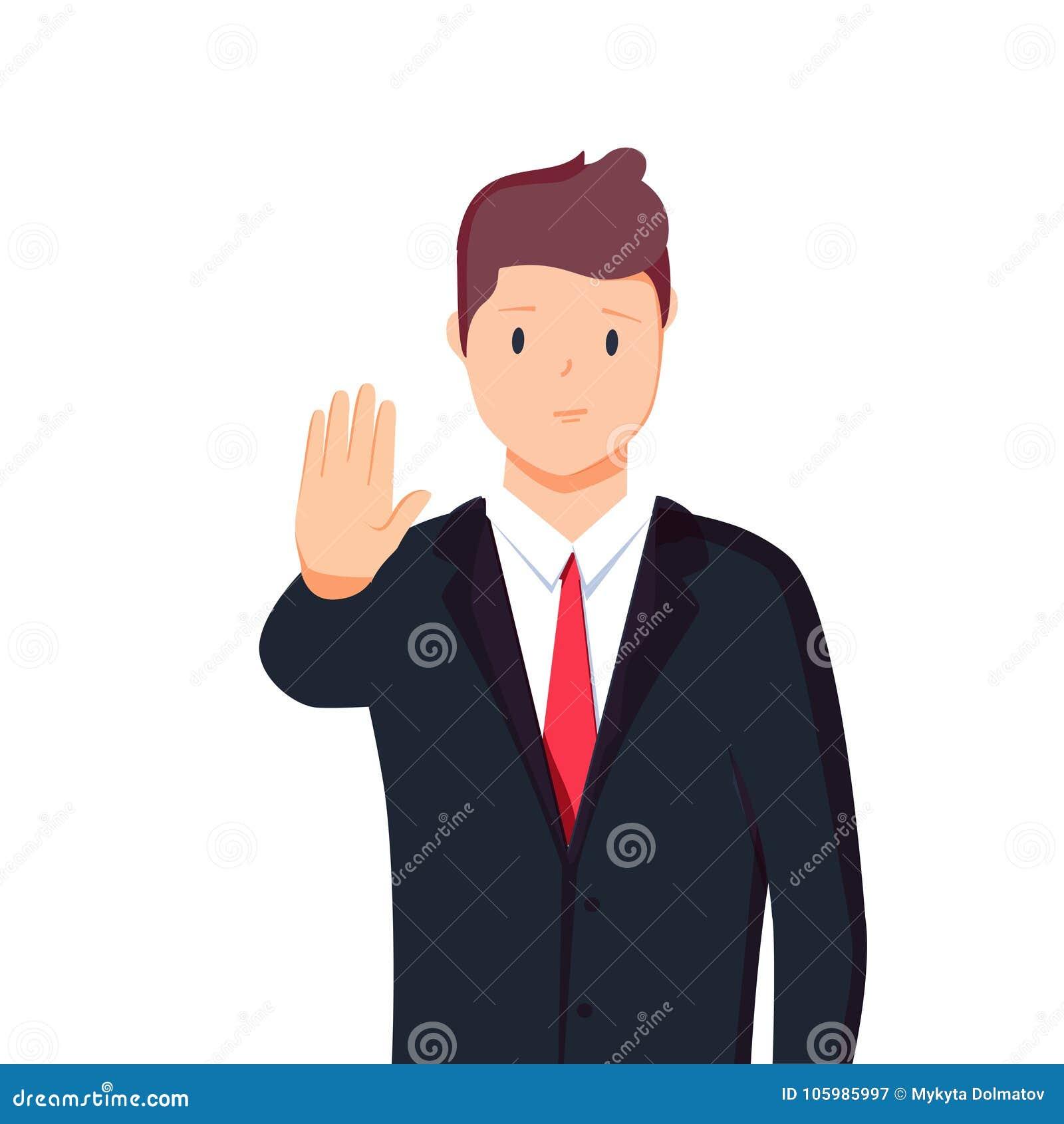 Wektorowy ilustracyjny charakteru portret biznesmen, podnosi rękę, palmowa rozciągliwość posyła, język ciała mówi nie