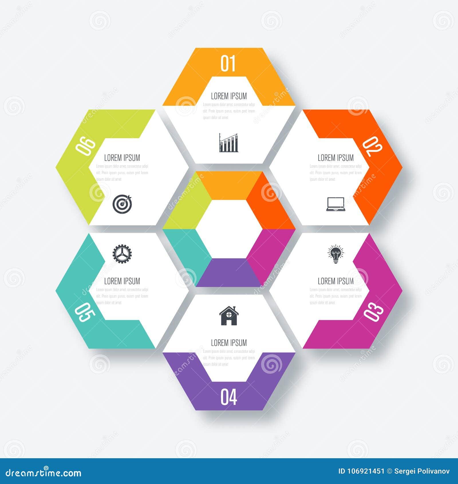 Wektorowy ilustracyjny infographics sześć opcj