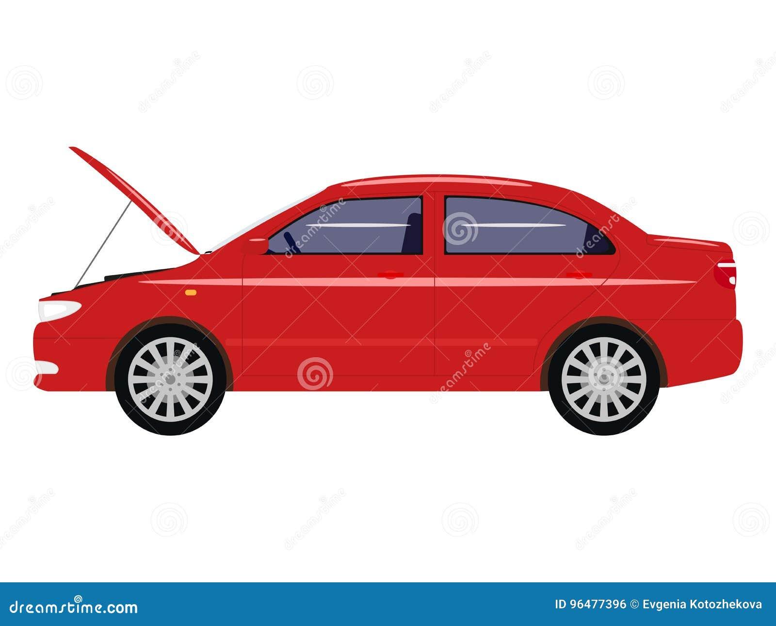 Wektorowy ilustracyjny kreskówka samochód z otwartym kapiszonem
