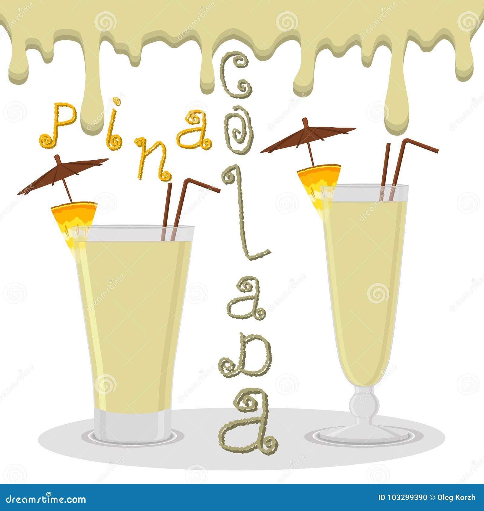 Wektorowy ilustracyjny logo dla alkoholów koktajli/lów pina colada