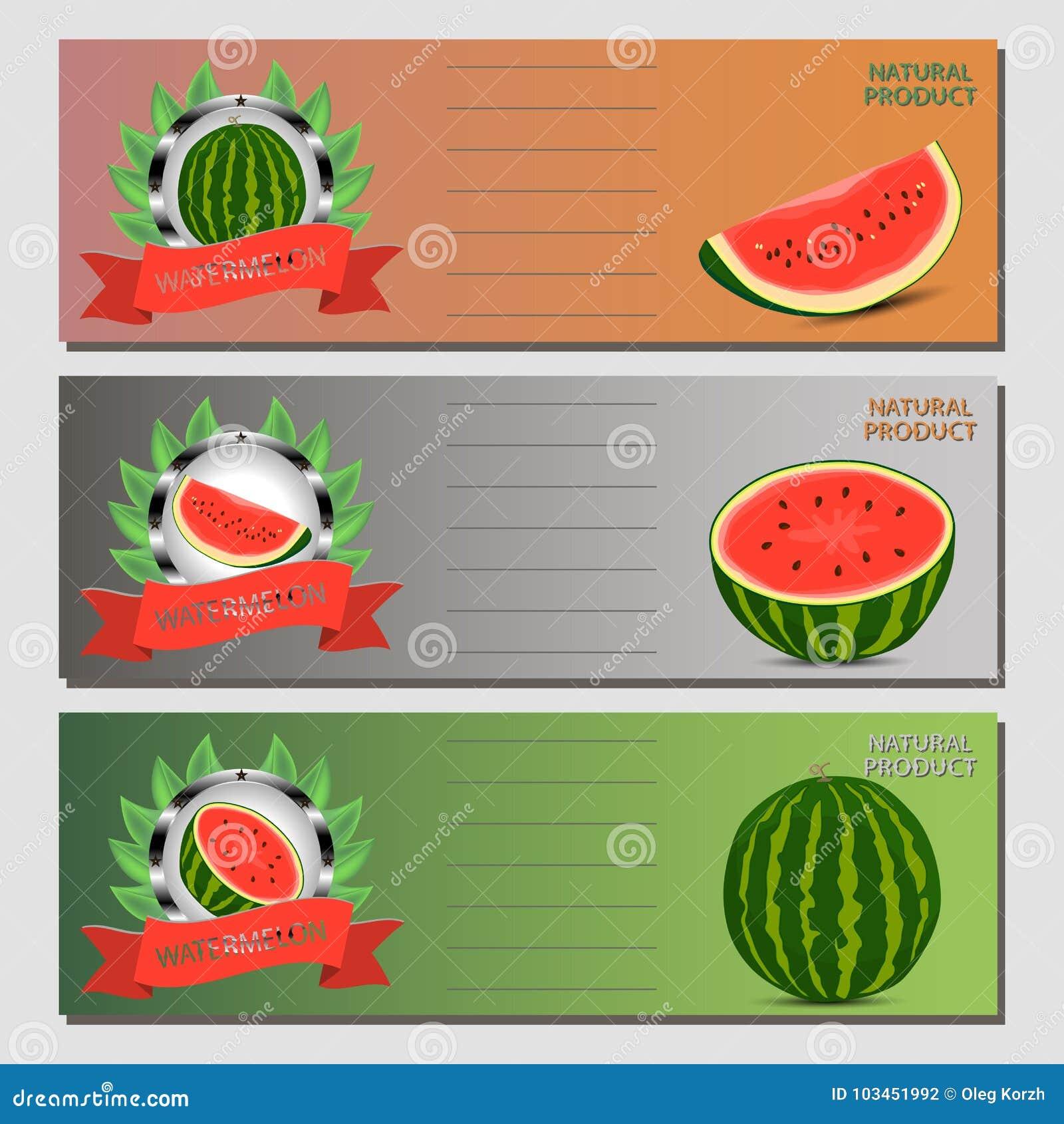 Wektorowy ilustracyjny logo dla całego dojrzałego czerwonego owocowego arbuza, zielony trzon, rżnięta połówka, pokrajać plasterek