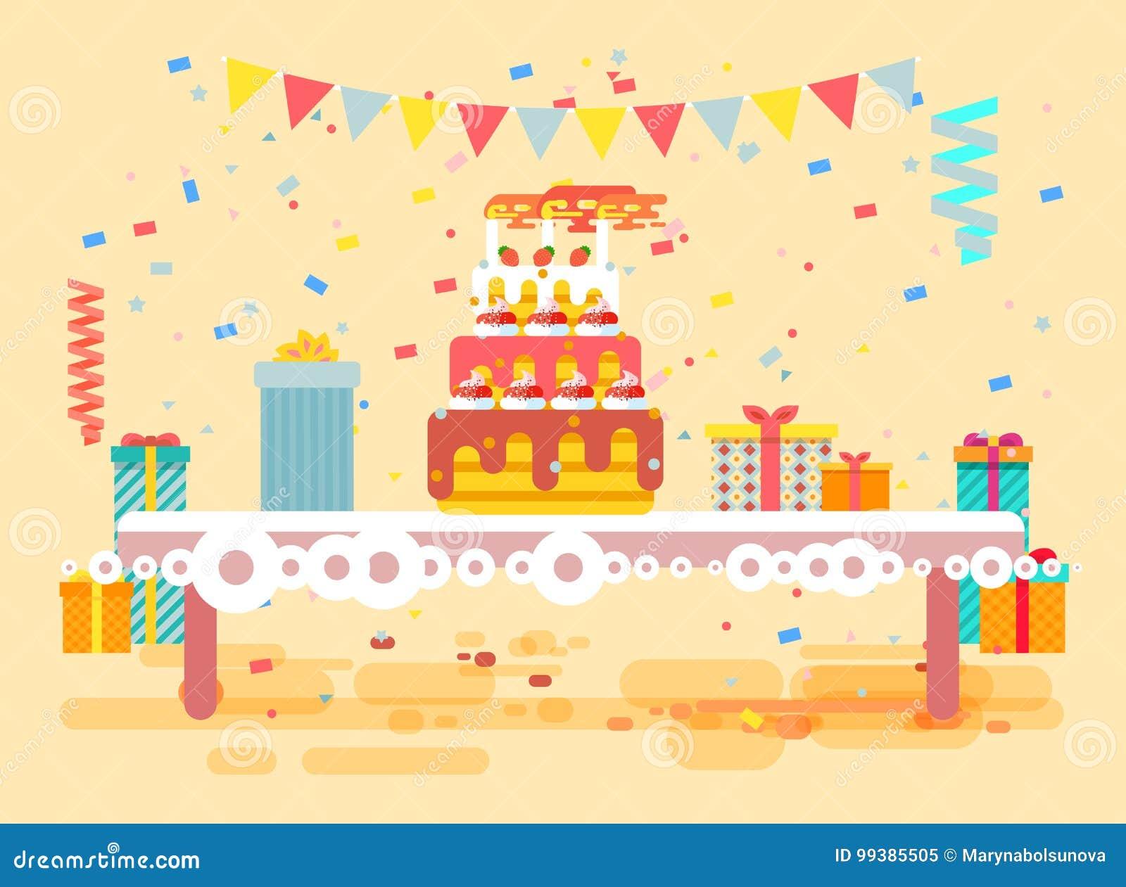 Wektorowy ilustracyjny ogromny świąteczny tort z świeczkami na stole, confetti, świętuje wszystkiego najlepszego z okazji urodzin