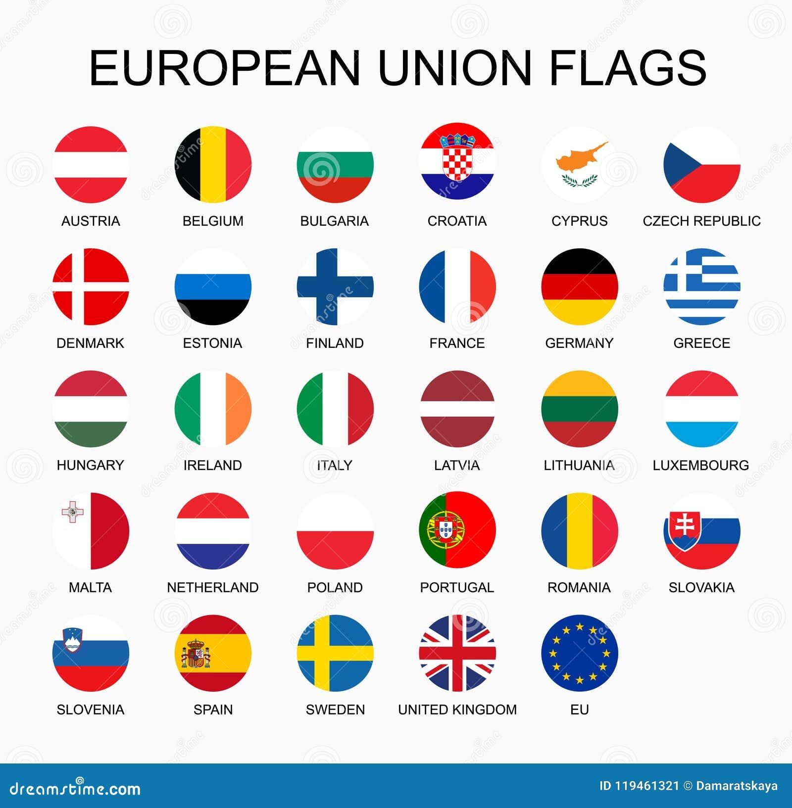 Wektorowy ilustracyjny ustawiający Europejskiego zjednoczenia krajów flaga na białym tle UE członków flaga