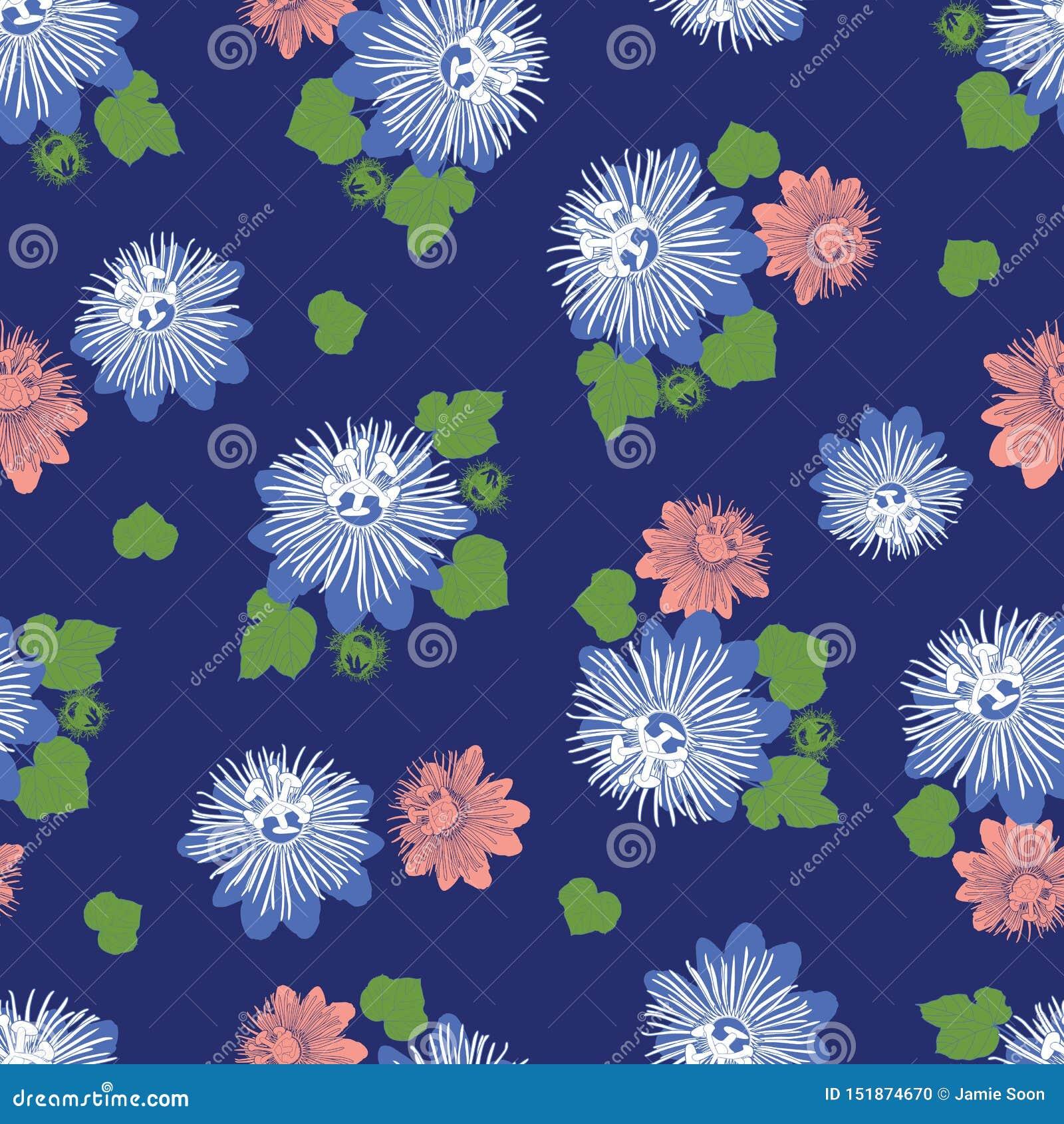 Wektorowy indygowego błękita bezszwowy wzór z liśćmi i dzikim kwiatem Stosowny dla tkaniny, prezenta opakunku i tapety,
