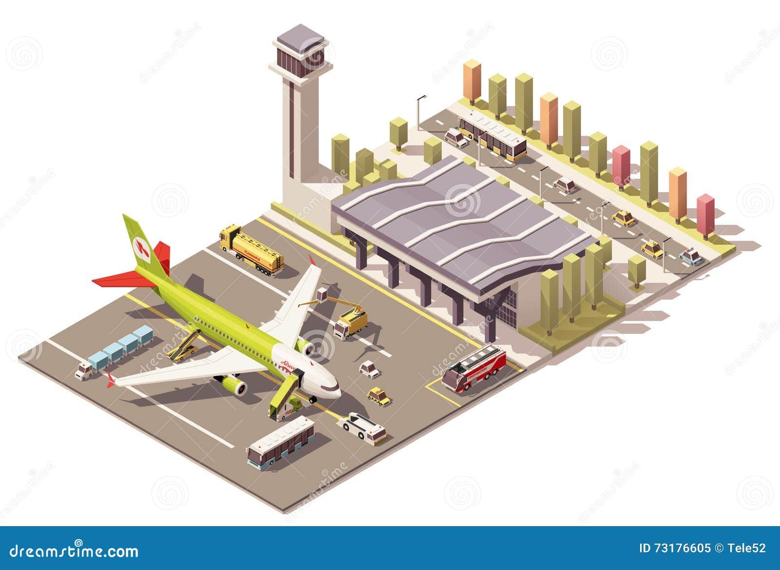 Wektorowy isometric niski poli- lotniskowy śmiertelnie budynek z samolotem i ziemia Wspieramy wyposażenie