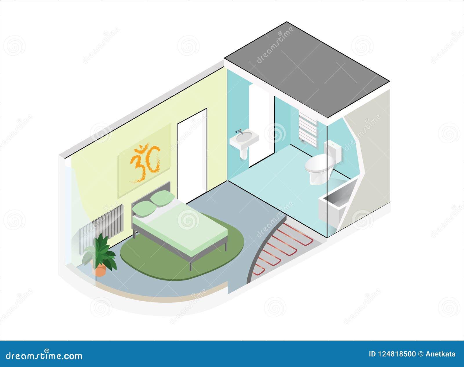 Wektorowy isometric pokój z łazienką