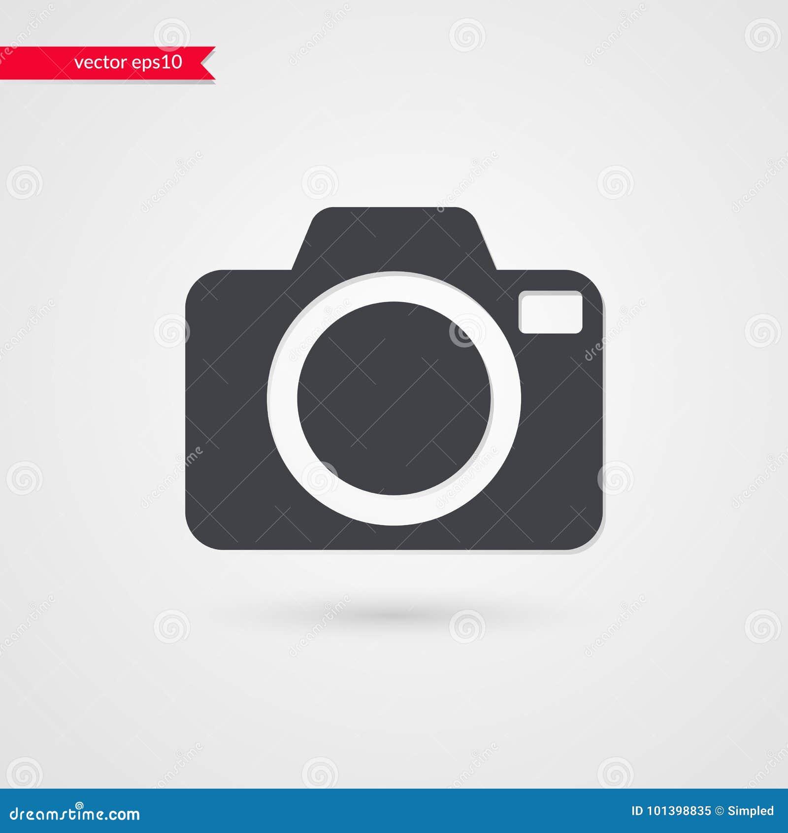Wektorowy kamera symbol Odosobniony infographic szarość znak Ikony ilustracja dla sieć projekta, fotografia, artykuł, wiadomość,