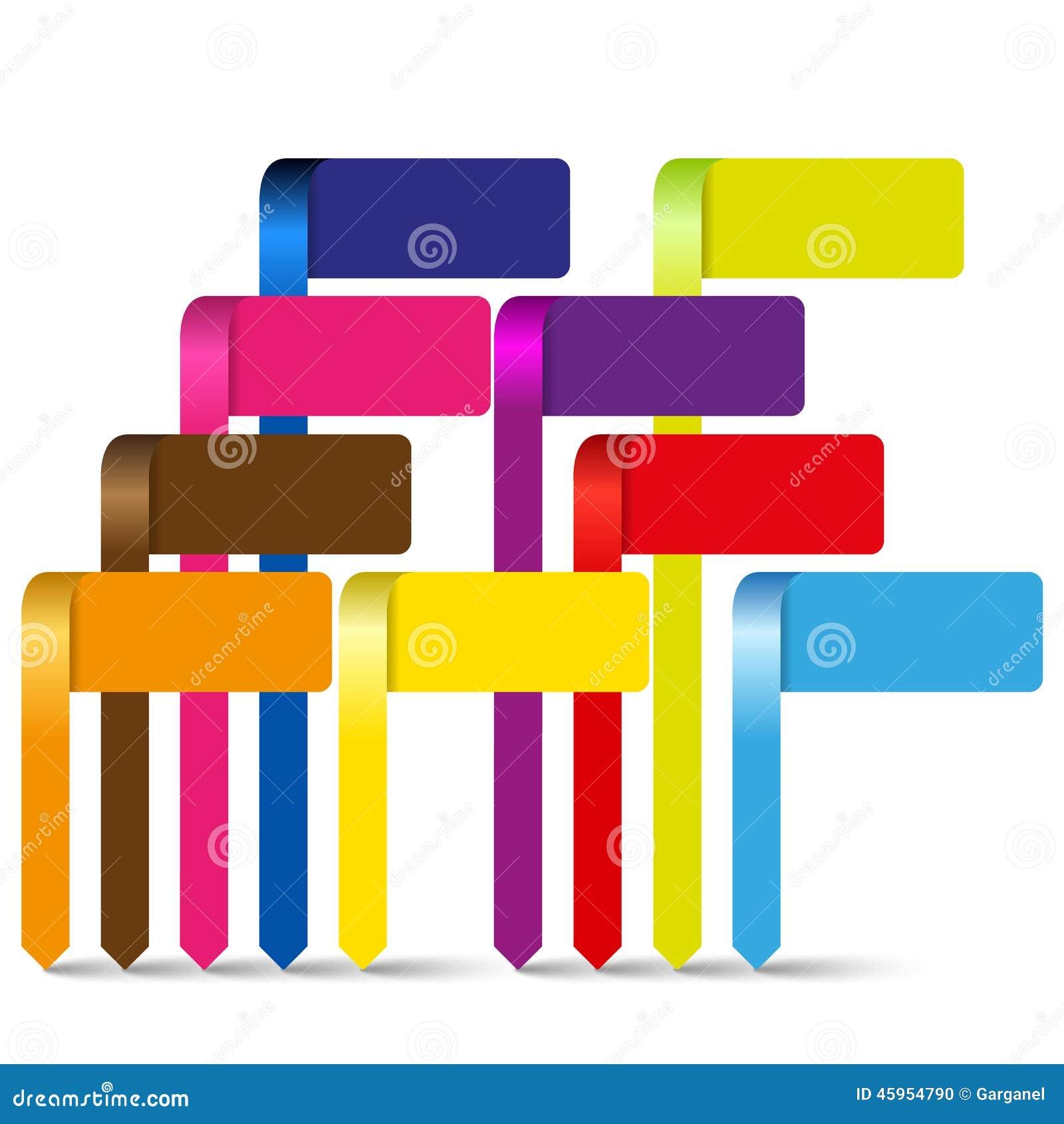 Wektorowy kolorowy ewidencyjny graficzny pointeru szablon