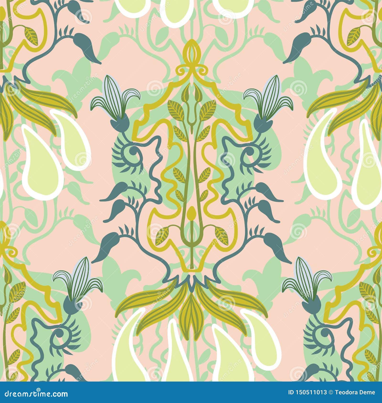 Wektorowy kwiecisty bezszwowy wzór w sztuki Nouveau stylu