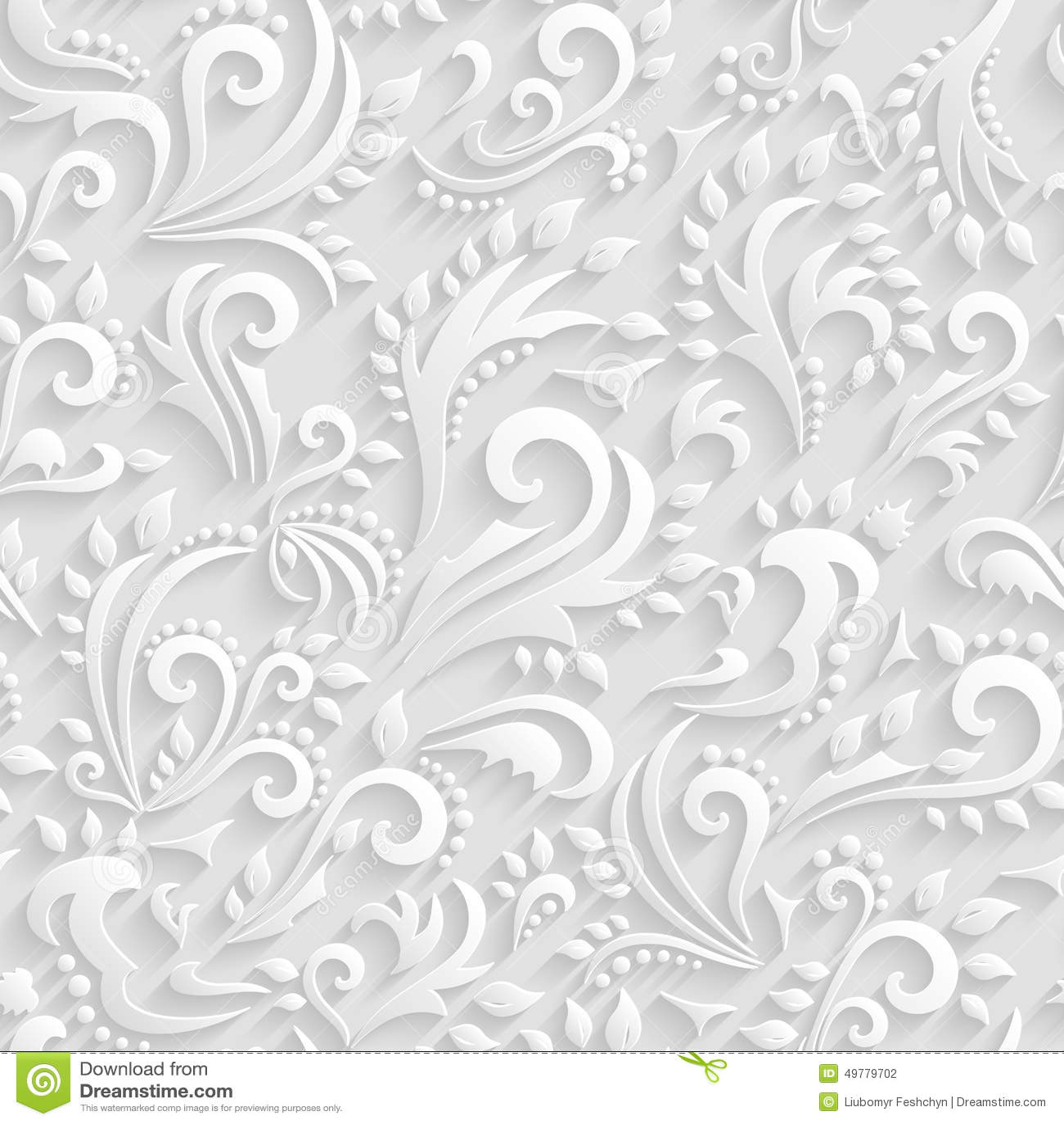 Wektorowy Kwiecisty Wiktoriański Bezszwowy tło Origami 3d zaproszenie, ślub, Papierowych kart Dekoracyjny wzór