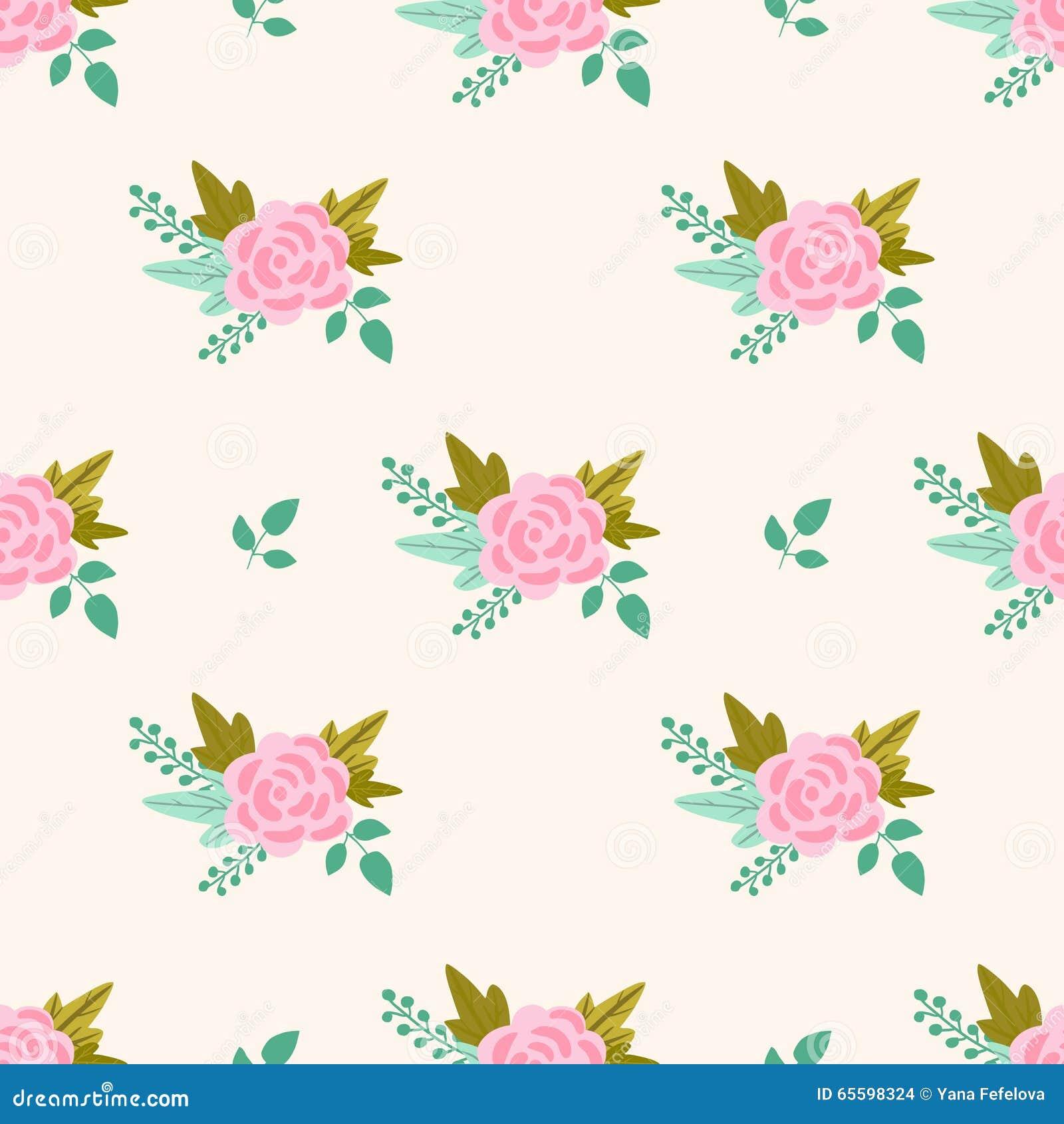 Wektorowy kwiecisty wzór z różowymi różami i liśćmi