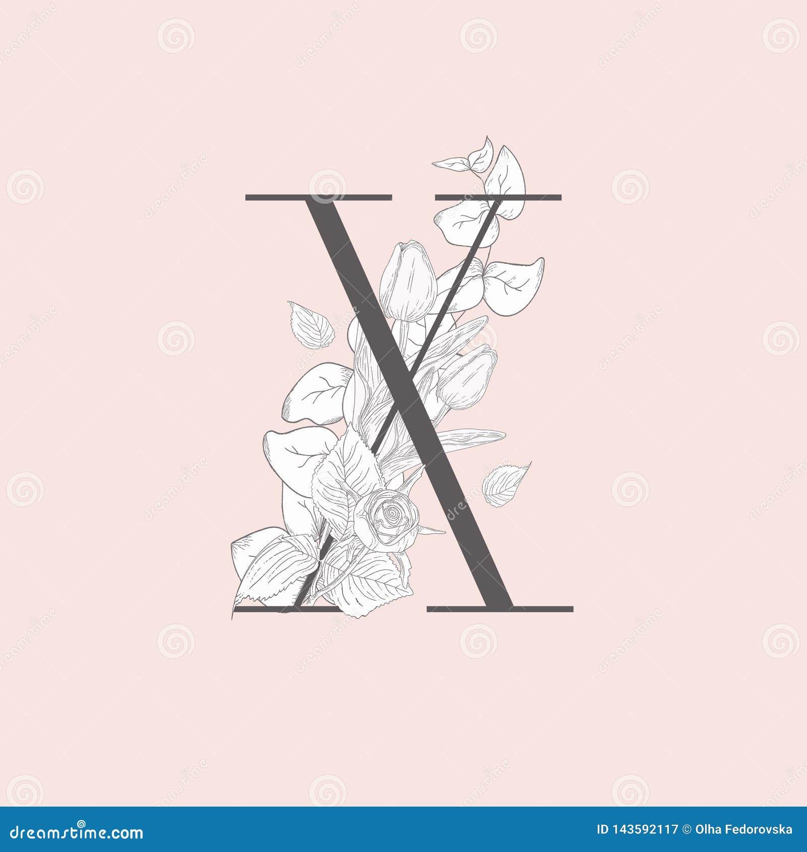 Wektorowy Kwitn?cy Kwiecisty Elegancki X monogram i logo