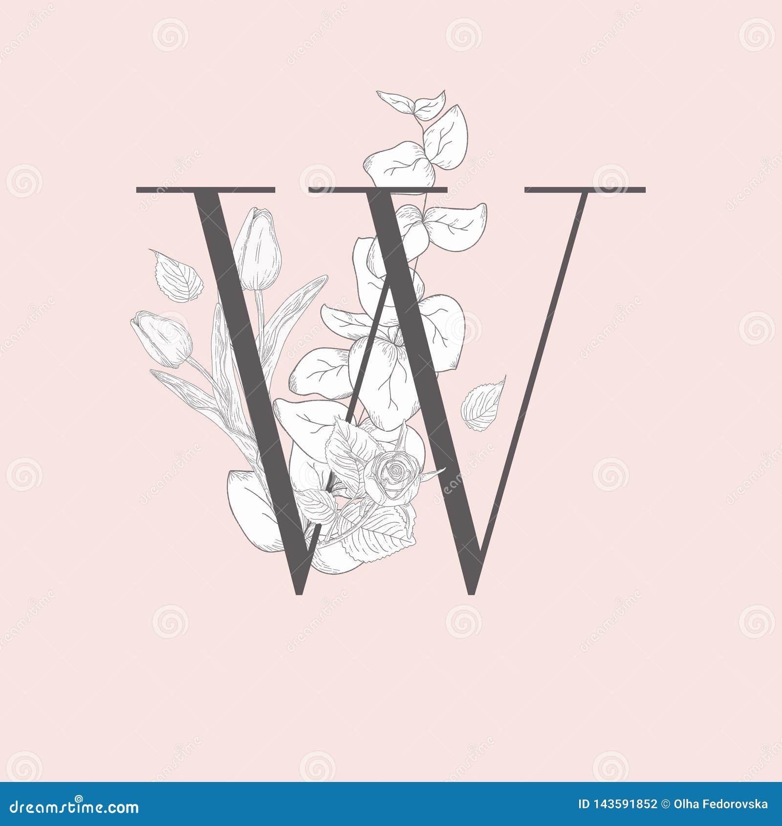 Wektorowy Kwitn?cy Kwiecisty Elegancki W monogram, logo i