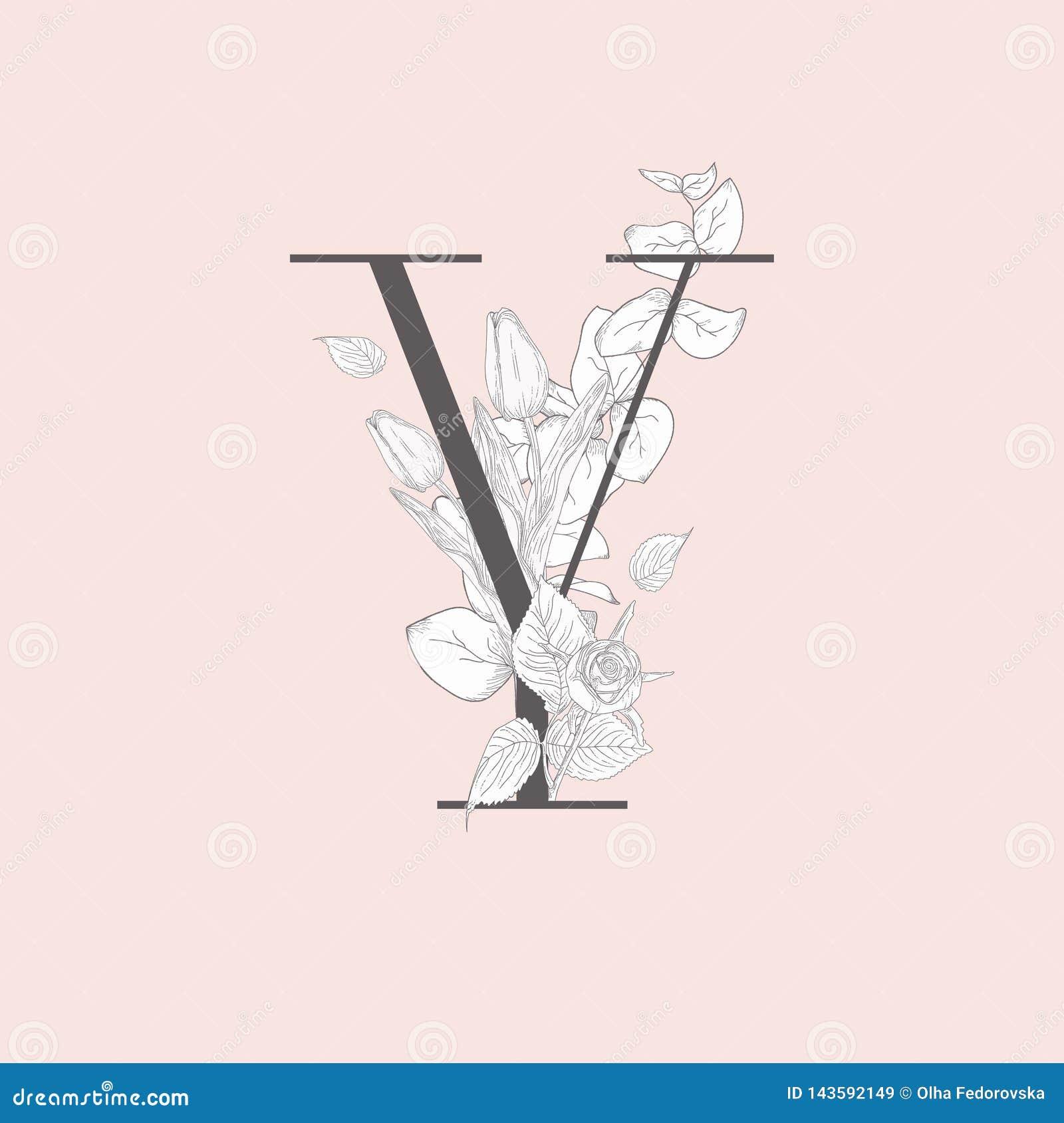 Wektorowy Kwitn?cy Kwiecisty Elegancki Y monogram, logo i