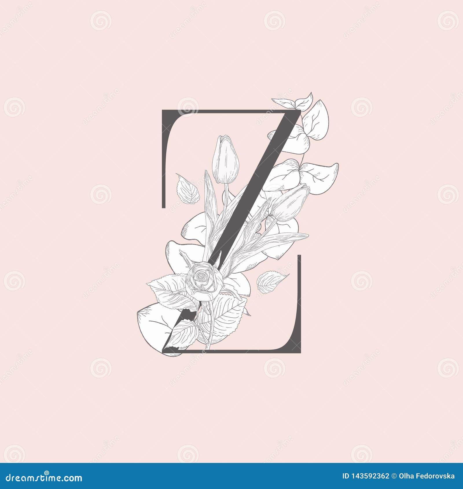 Wektorowy Kwitn?cy Kwiecisty Elegancki Z monogram, logo i