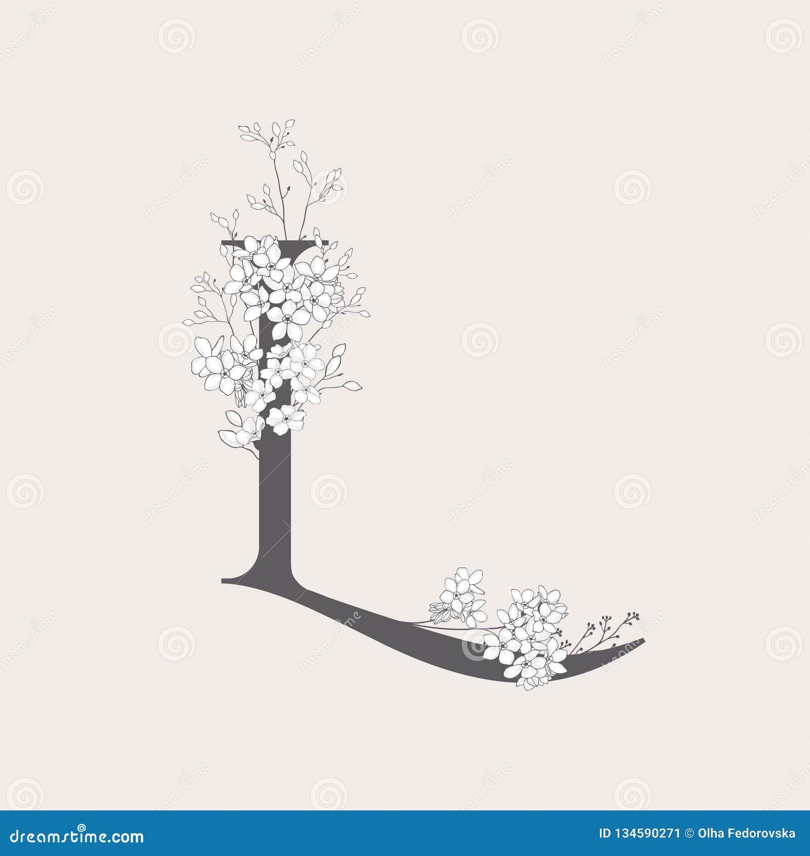 Wektorowy Kwitnący Kwiecisty inicjał L monogram i logo