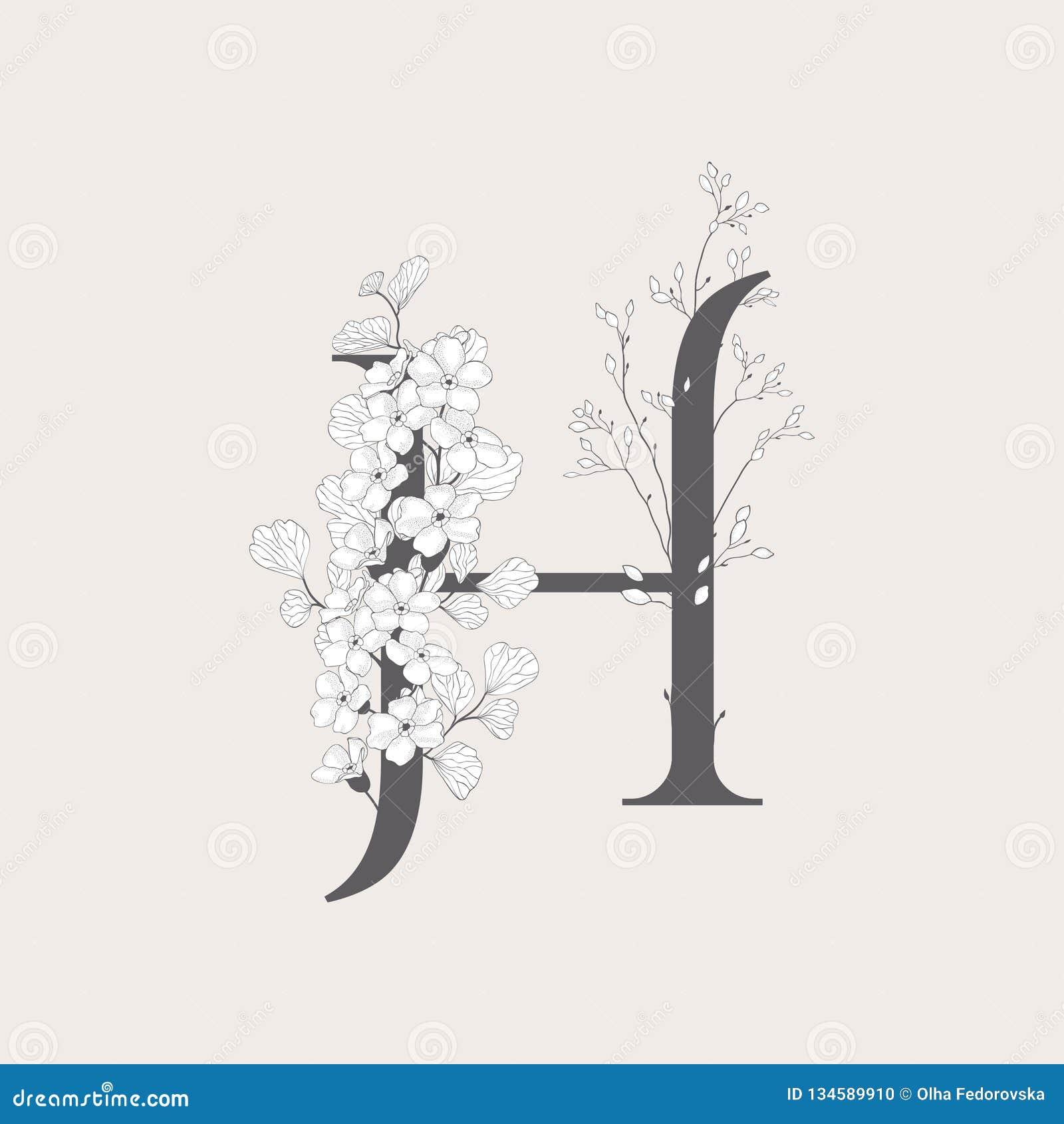 Wektorowy Kwitnący Kwiecisty inicjału H monogram i logo