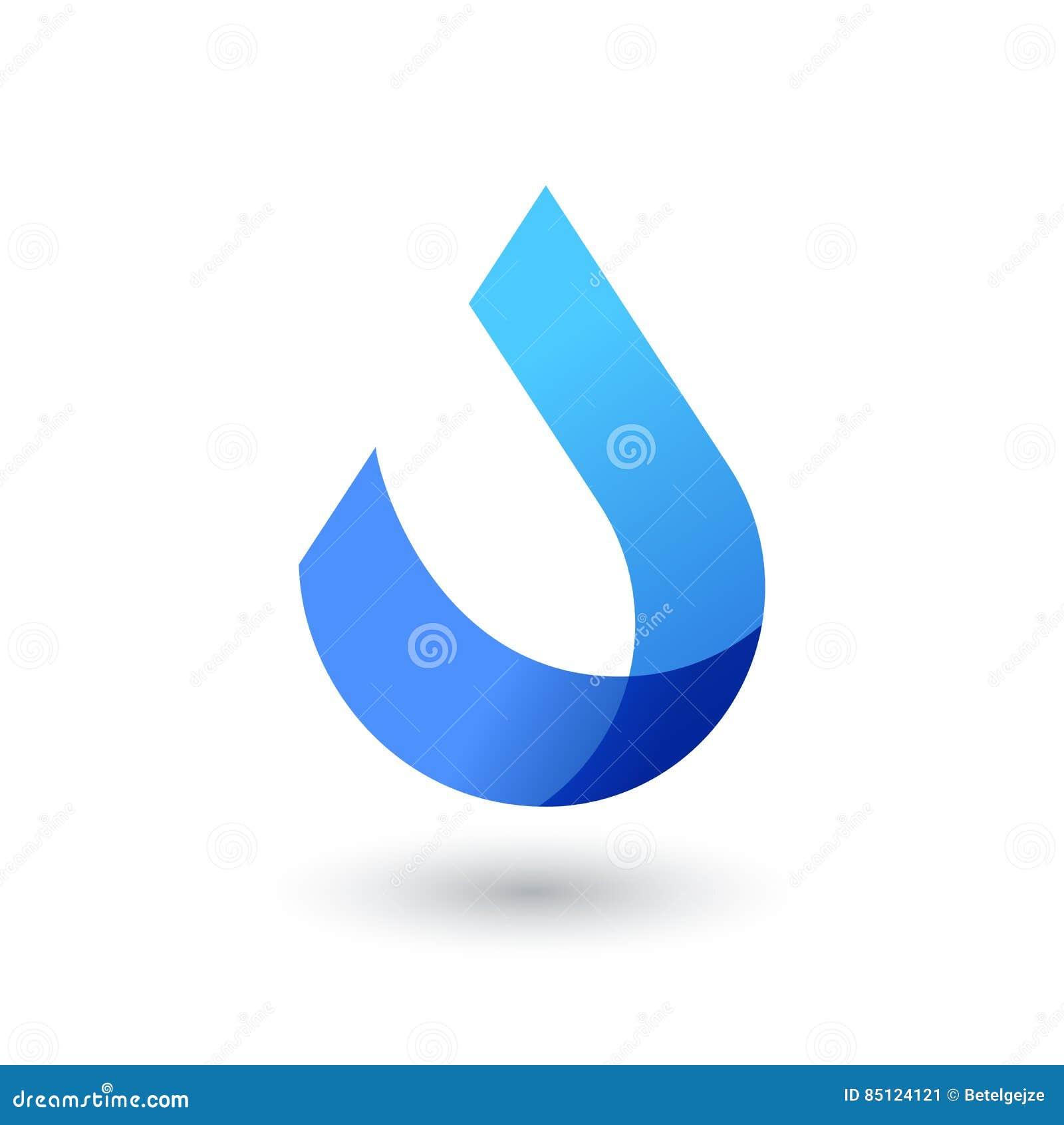 Wektorowy loga projekta szablon Abstrakcjonistyczna błękitne wody kropla, falowy kształt