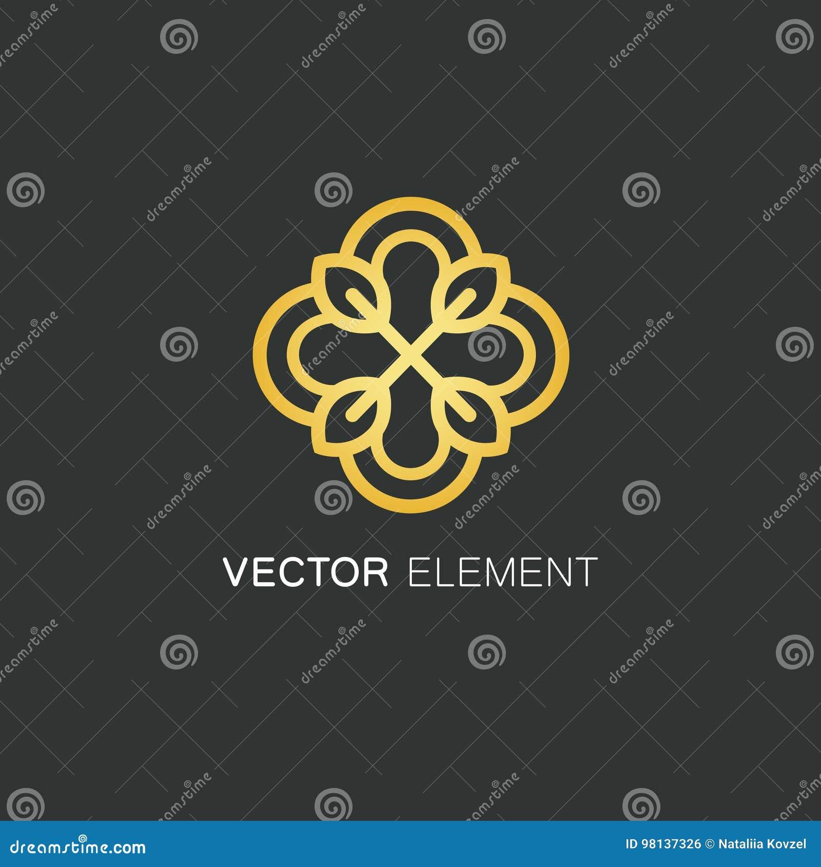Wektorowy loga projekta szablon i złocisty kwiecisty pojęcie w liniowym stylu - emblemat dla mody, piękna i biżuteria przemysłu,