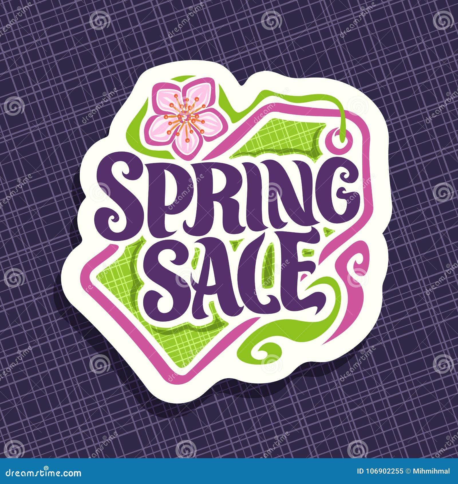 Wektorowy logo dla wiosna sezonu sprzedaży