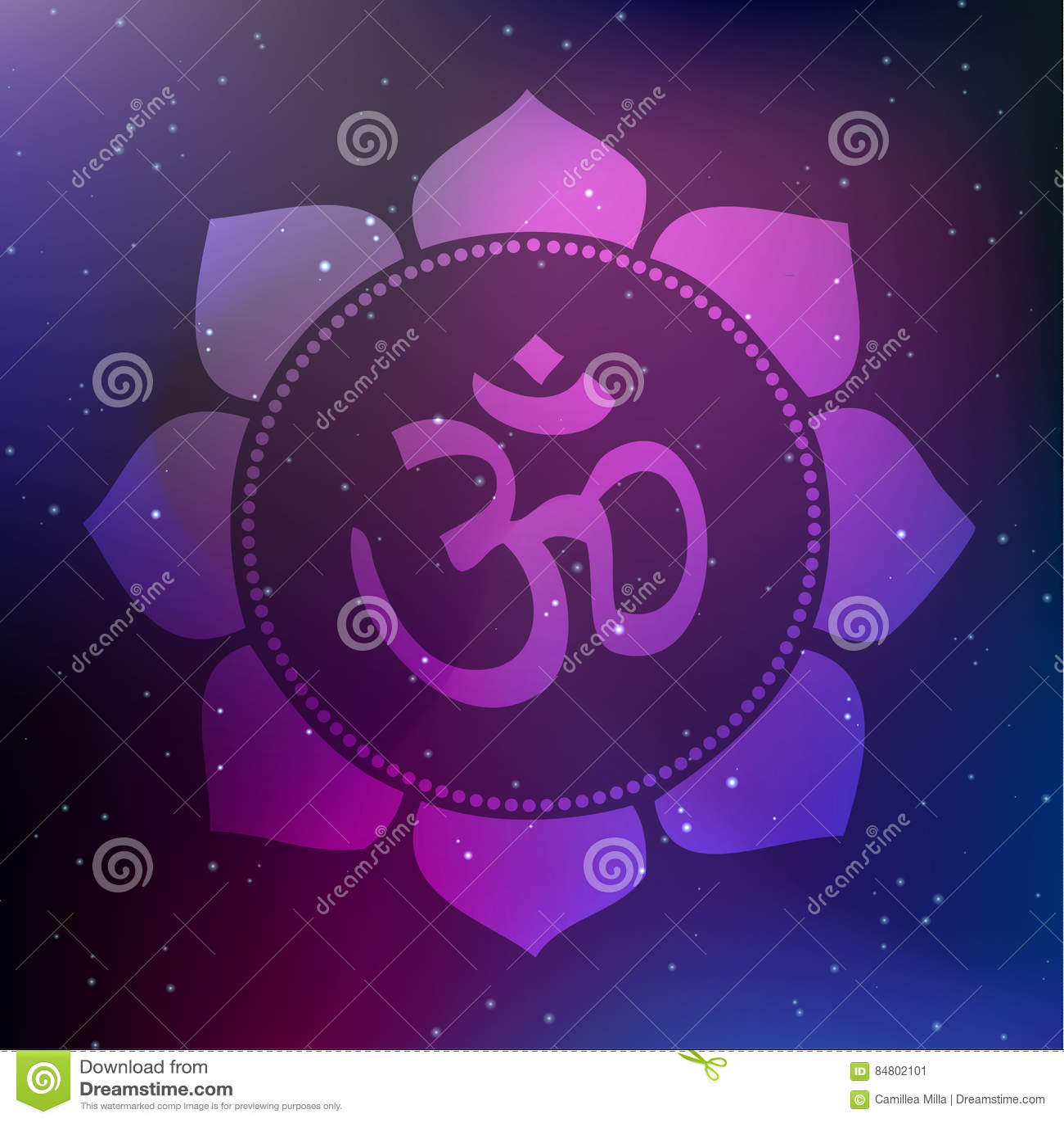 Wektorowy Lotosowy mandala z Om symbolem na Pozaziemskim tle