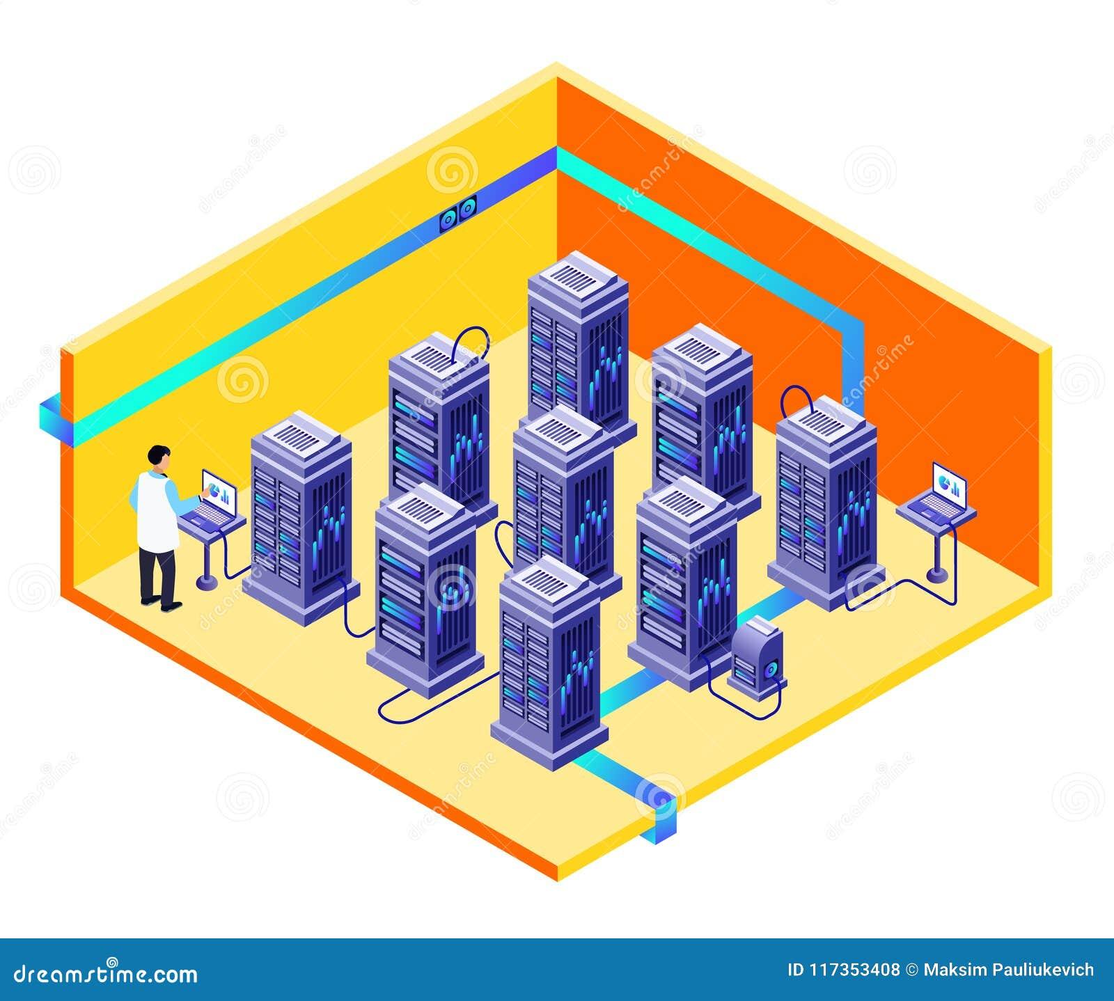 Wektorowy mężczyzna przechowywania danych centrum utrzymanie
