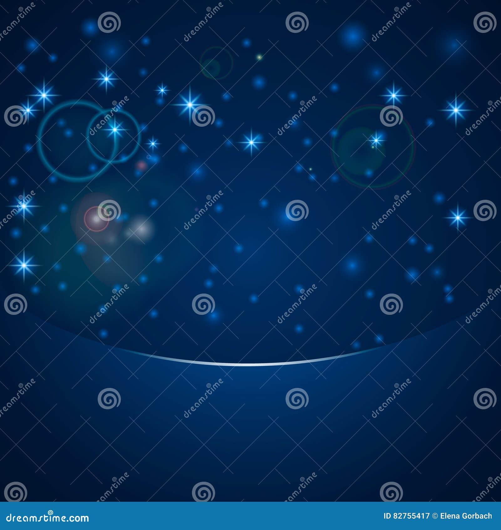 Wektorowy magiczny bokeh zaświeca z gwiazdami i błyska na błękitnym tle z kopii przestrzenią, śnieg, obiektywu racy skutek