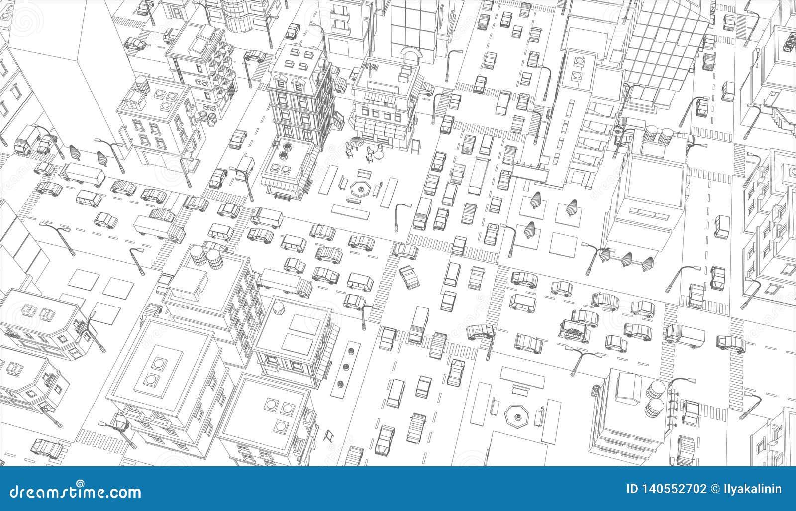 Wektorowy miasto ulic skrzyżowania kontur Budynki i drogowego ruchu drogowego odgórny widok Szary linia konturu konturu styl