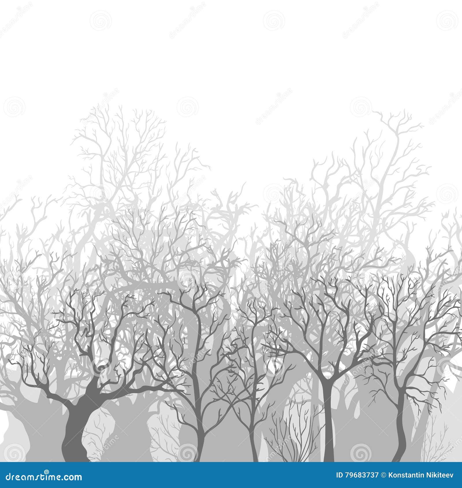 Wektorowy Monochromatyczny tło Nadzy Nieżywi drzewa