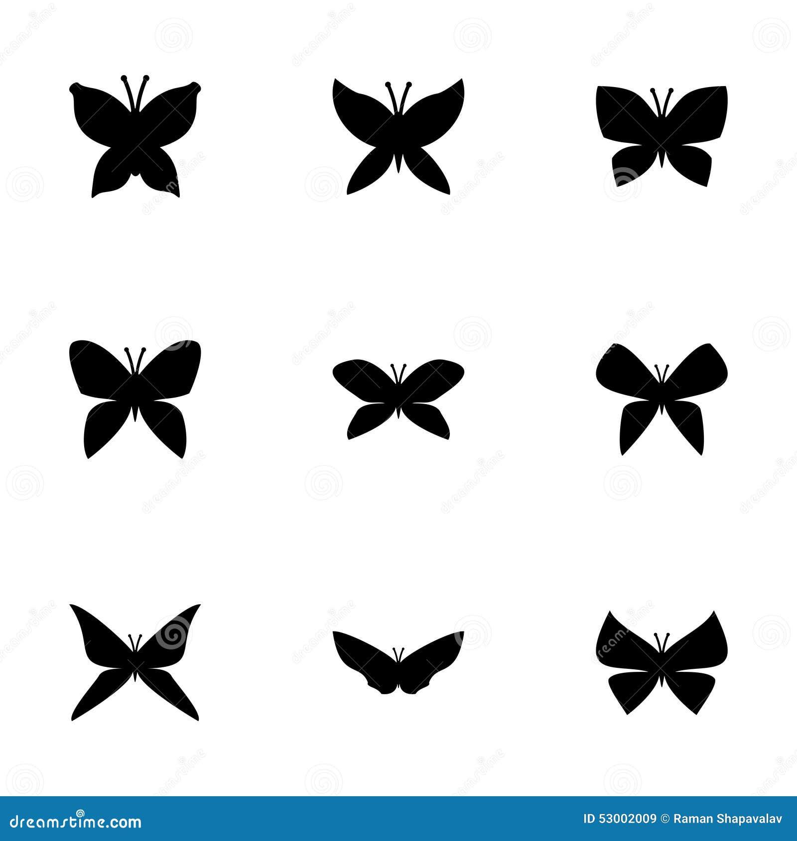Wektorowy motyli ikona set
