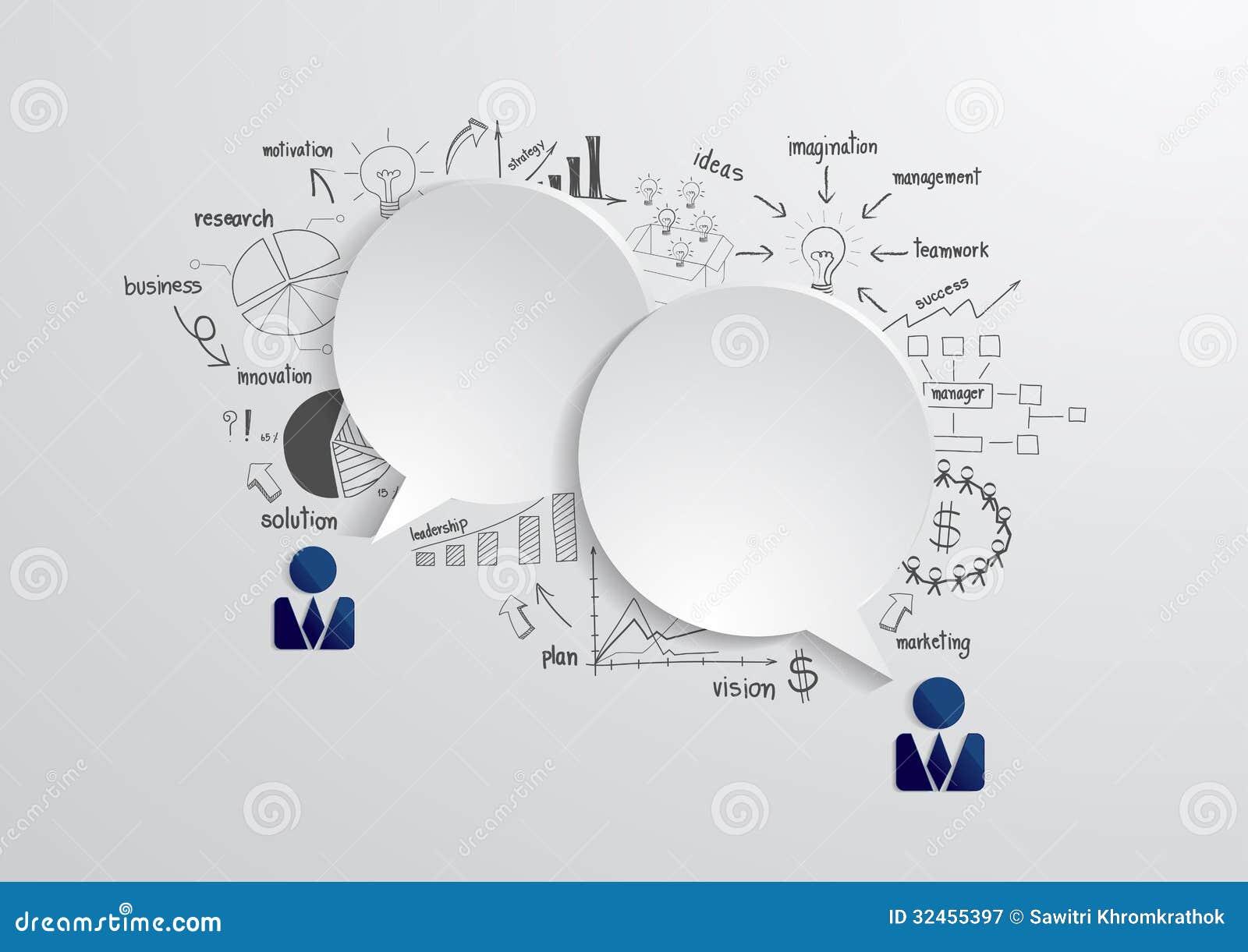 Wektorowy mowa bąbel z rysunkowym biznesowym strategiem