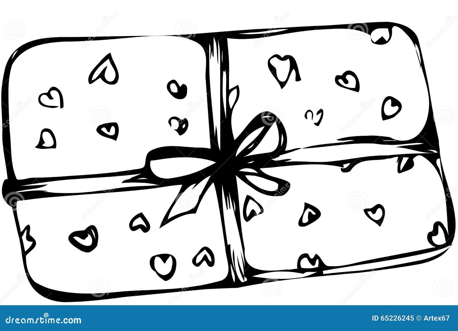 Wektorowy nakreślenia pudełko z sercami wiązał z faborkiem
