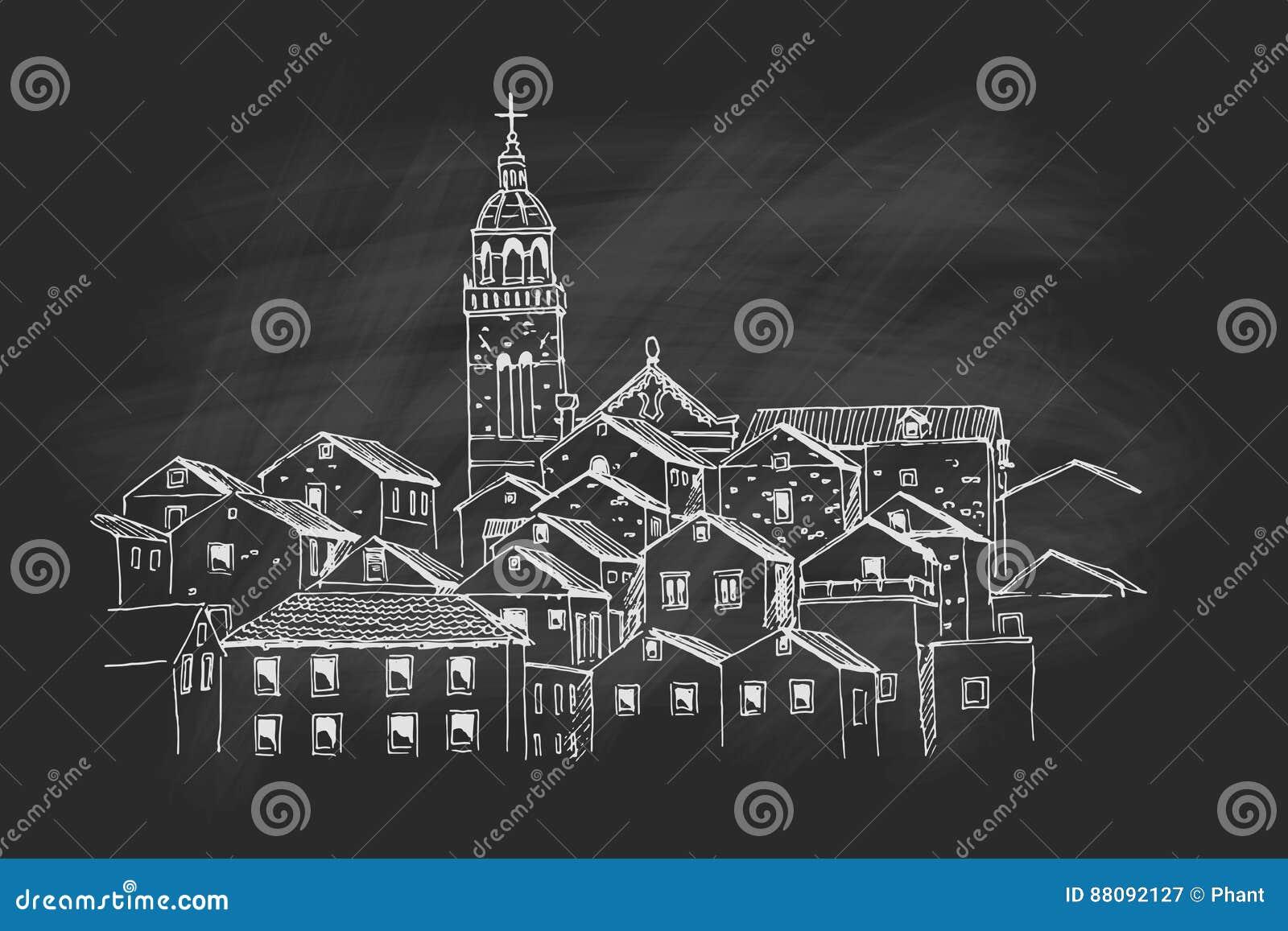 Wektorowy nakreślenie architektura Korcula