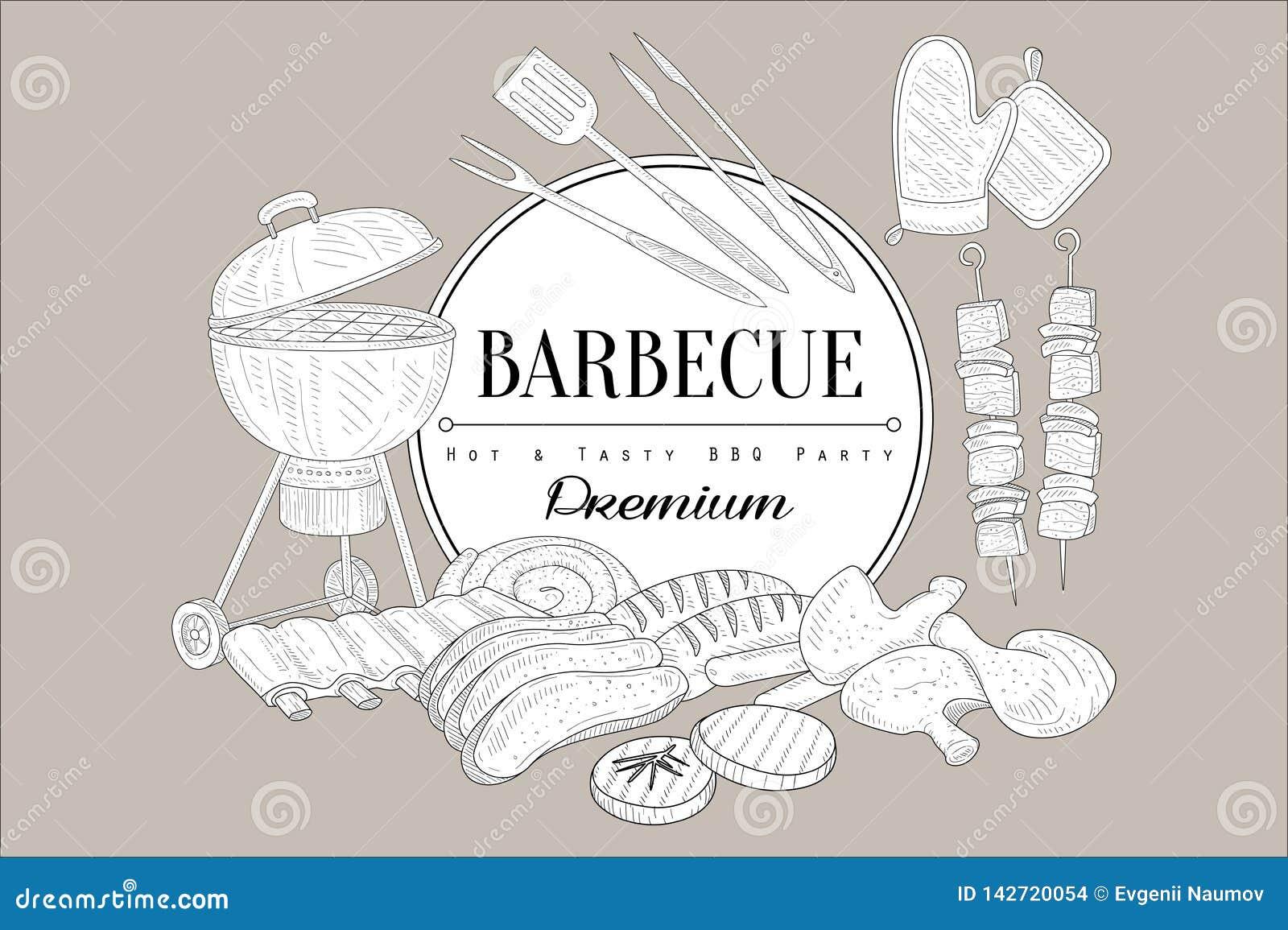 Wektorowy nakreślenie grill, kuchenni naczynia dla, gotuje, karmowego kebabu, kurczak nogi, ziobro, stek, wołowina, wieprzowina,