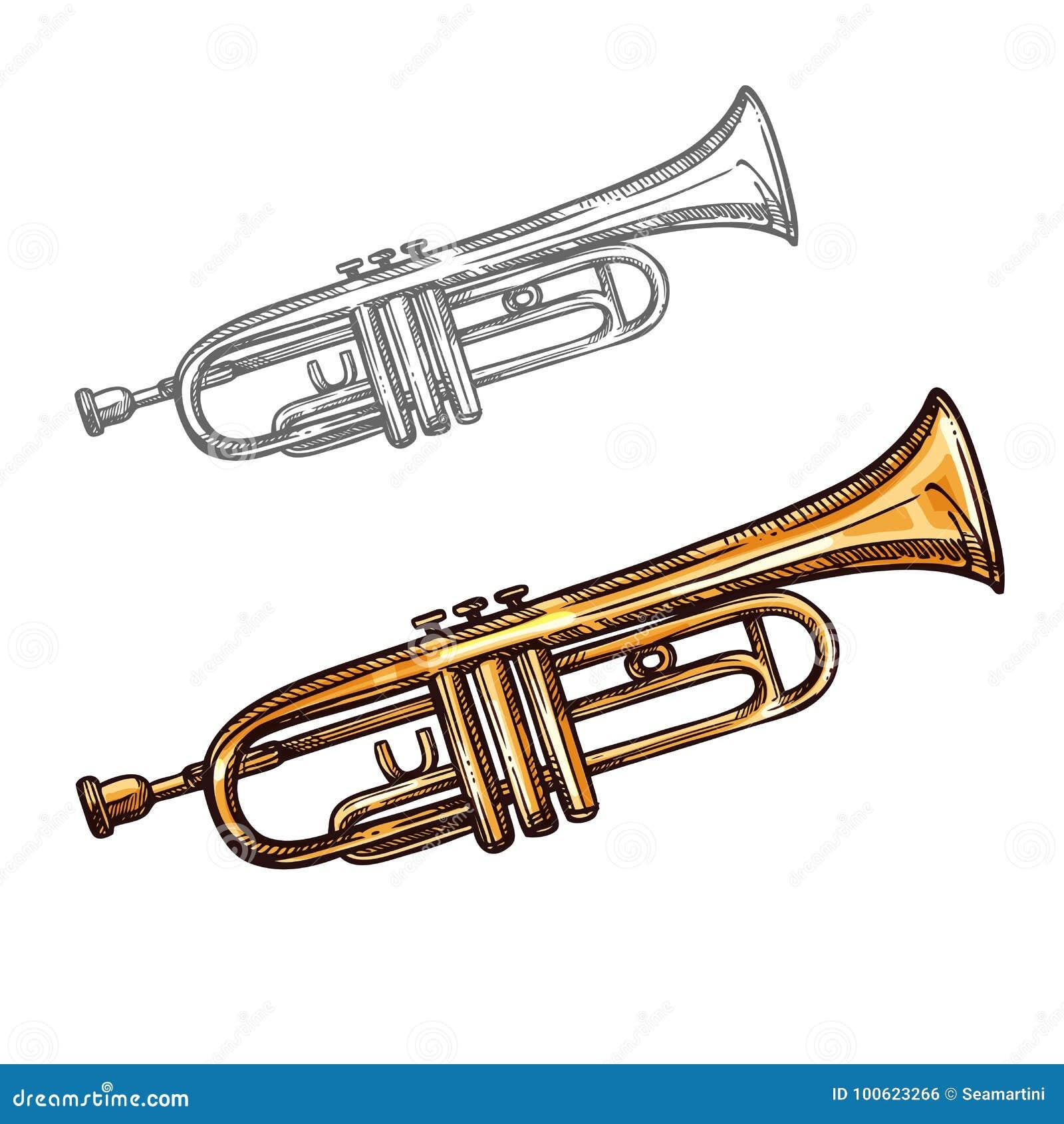 Wektorowy nakreślenie trąbki instrument muzyczny