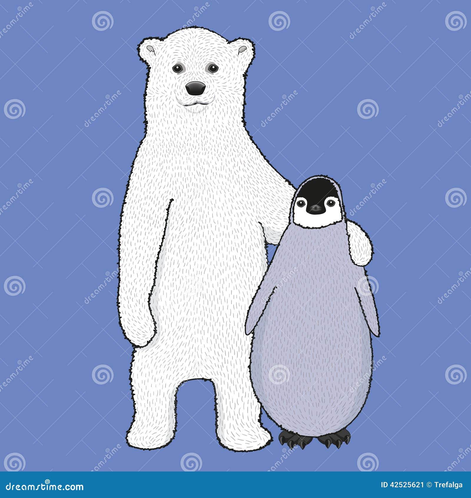 Wektorowy niedźwiedź polarny i pingwin