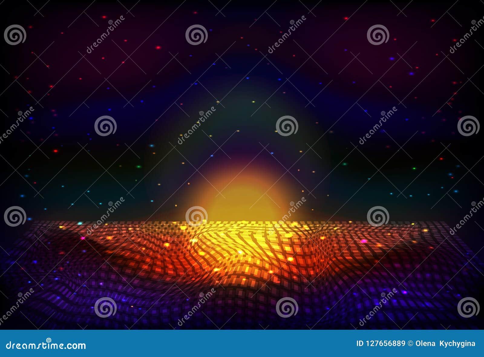 Wektorowy nieskończonej przestrzeni nocy tło Matryca jarzyć się gra główna rolę z złudzeniem głębia i perspektywa