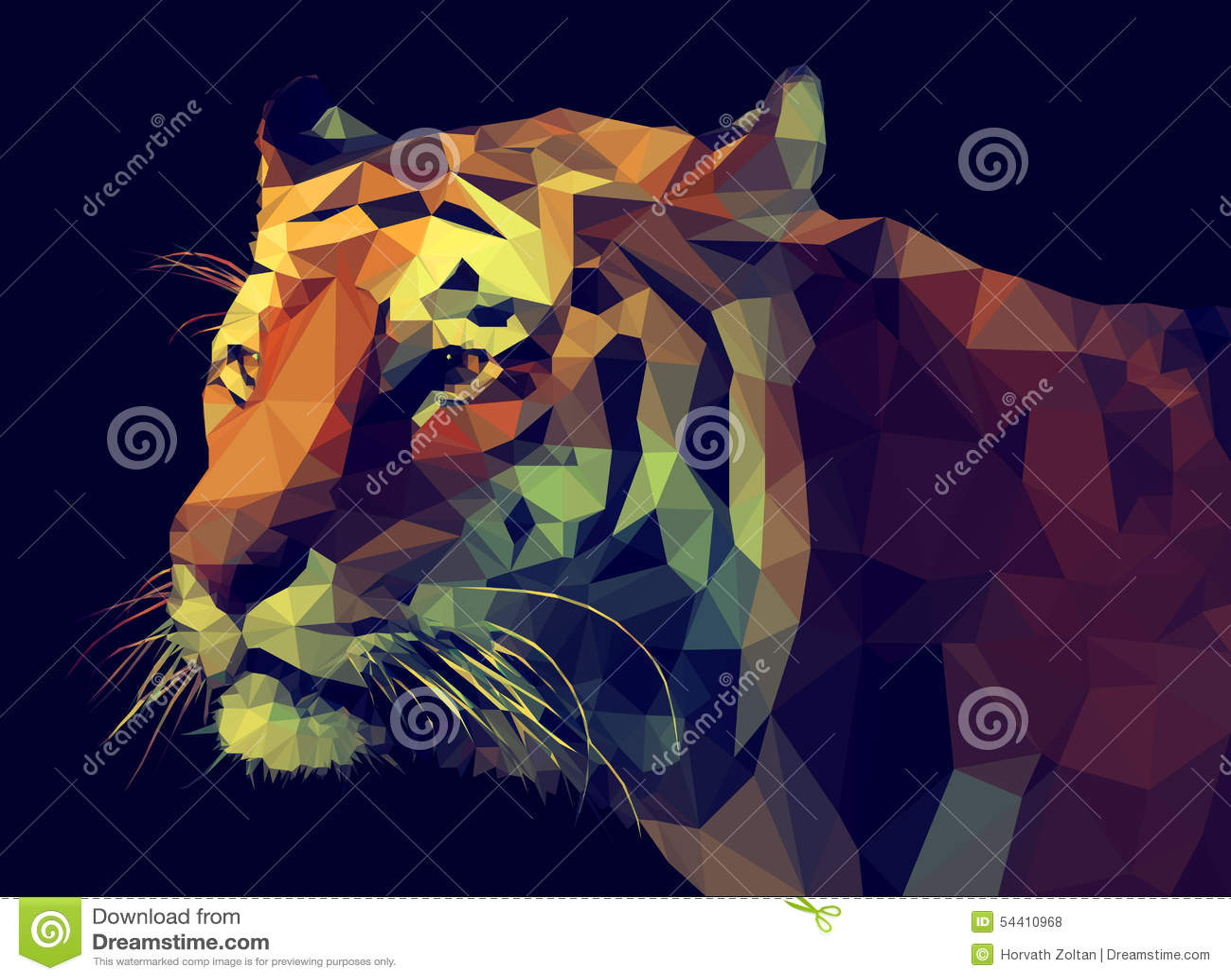 Wektorowy niski poli- projekt Tygrysia ilustracja