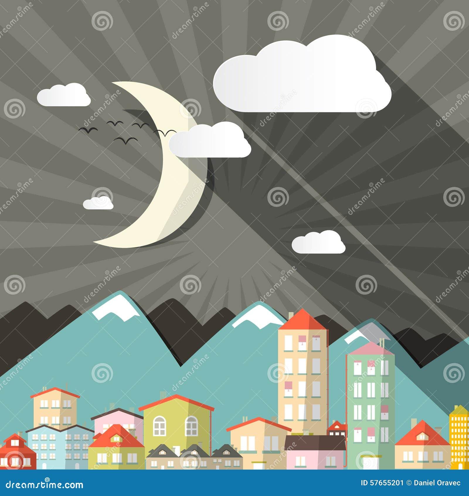 Wektorowy noc krajobrazu miasteczko lub miasto