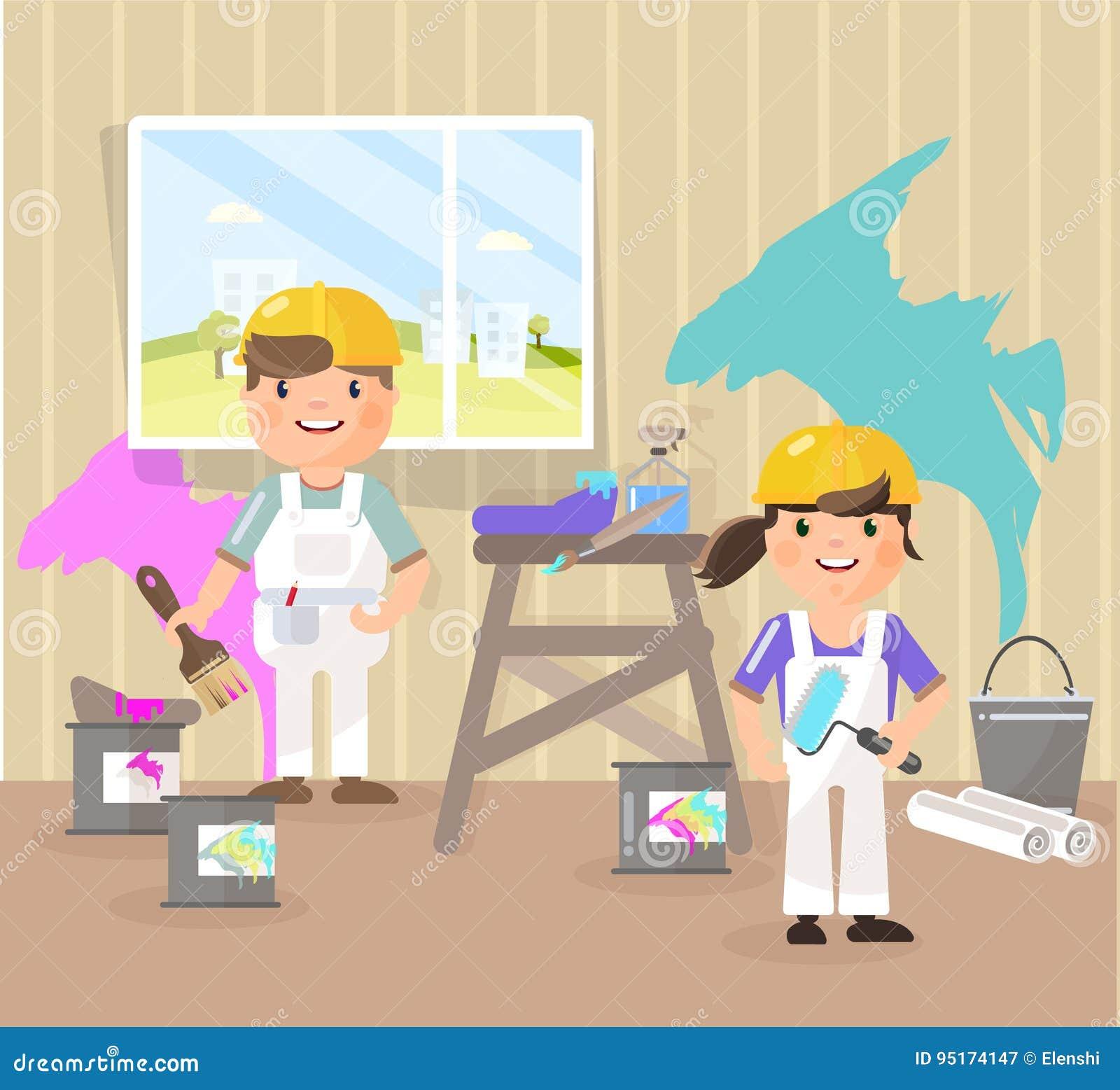 Wektorowy obrazek w stylu mieszkania, kreskówka Malarzi malują pokój, podnoszą up kolor błękit, menchia