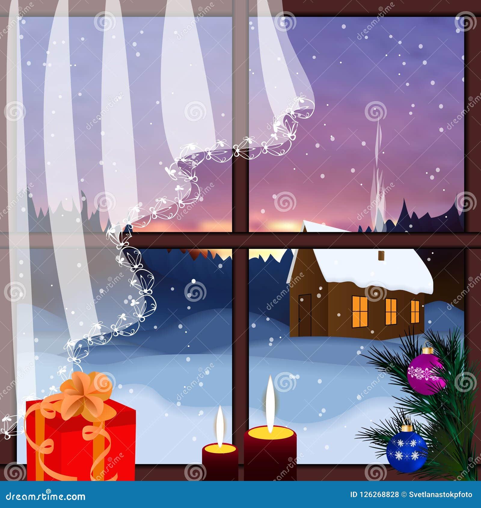 Wektorowy okno z widokiem śnieżny tło