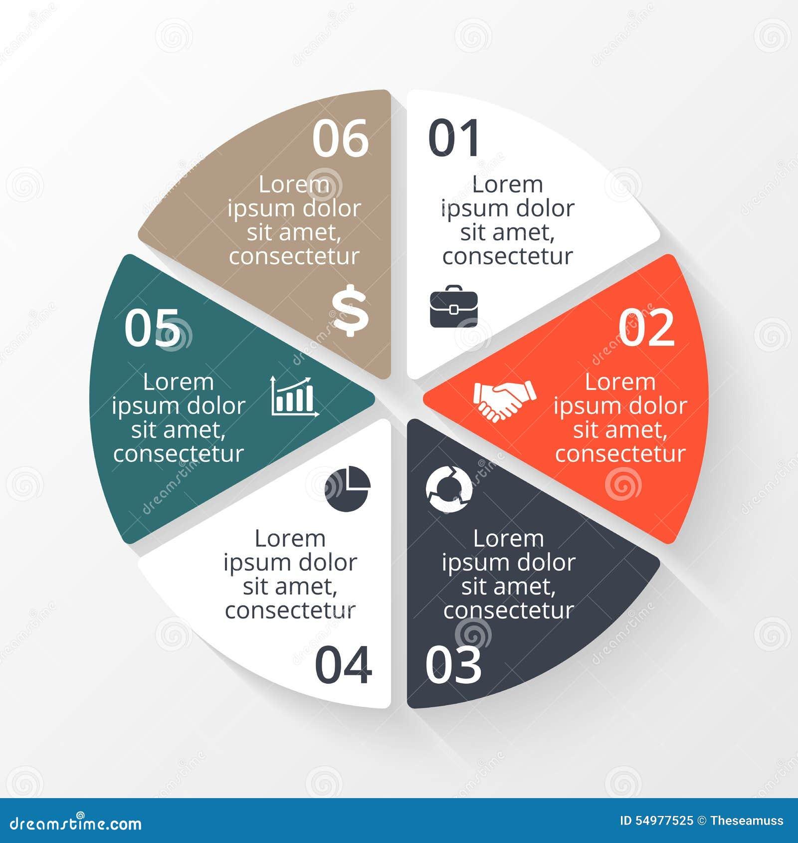 Wektorowy okrąg infographic Szablon dla cyklu