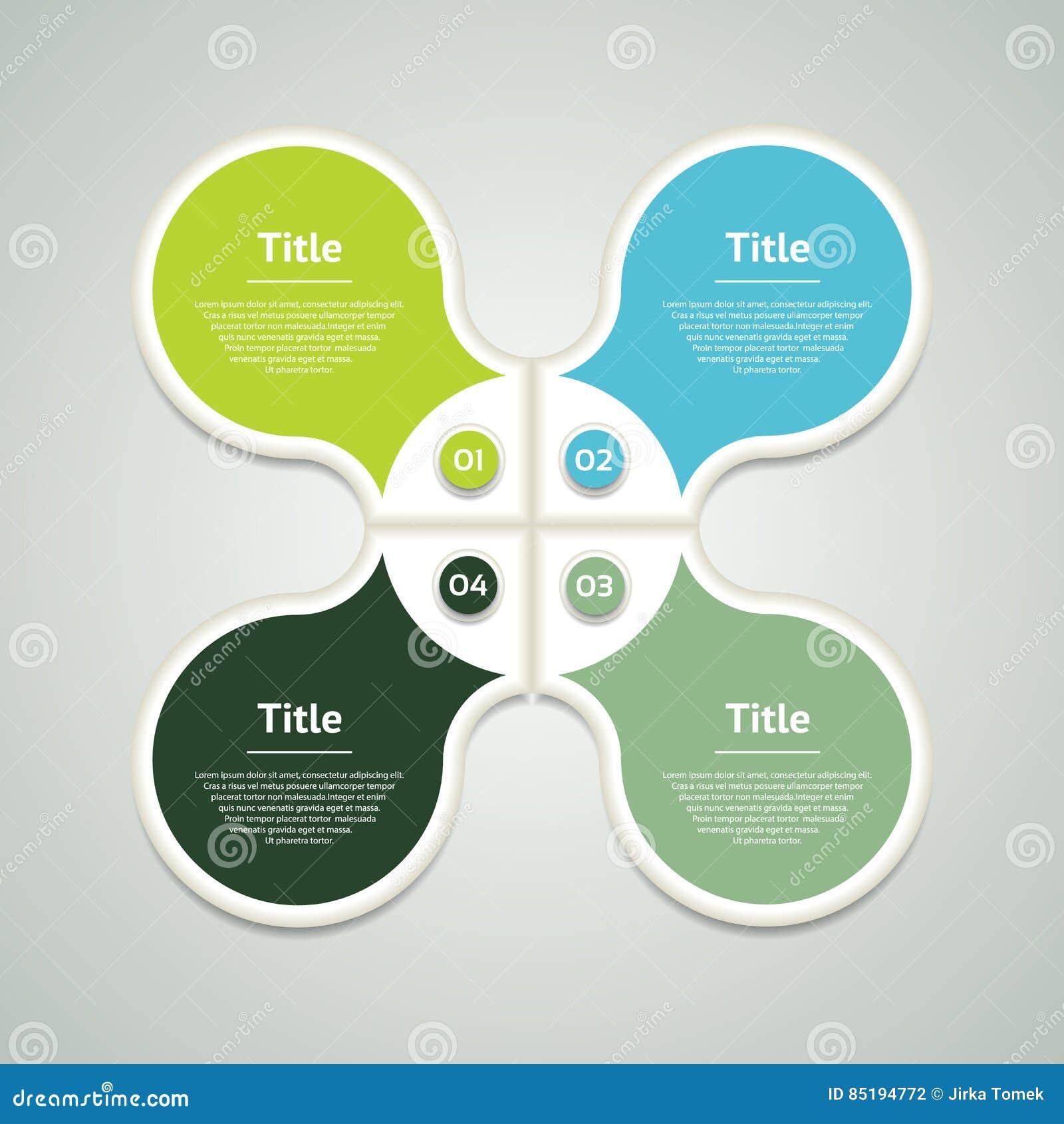 Wektorowy okrąg infographic Szablon dla diagrama, wykresu, prezentaci i mapy, Biznesowy pojęcie z cztery opcjami, części, kroczy