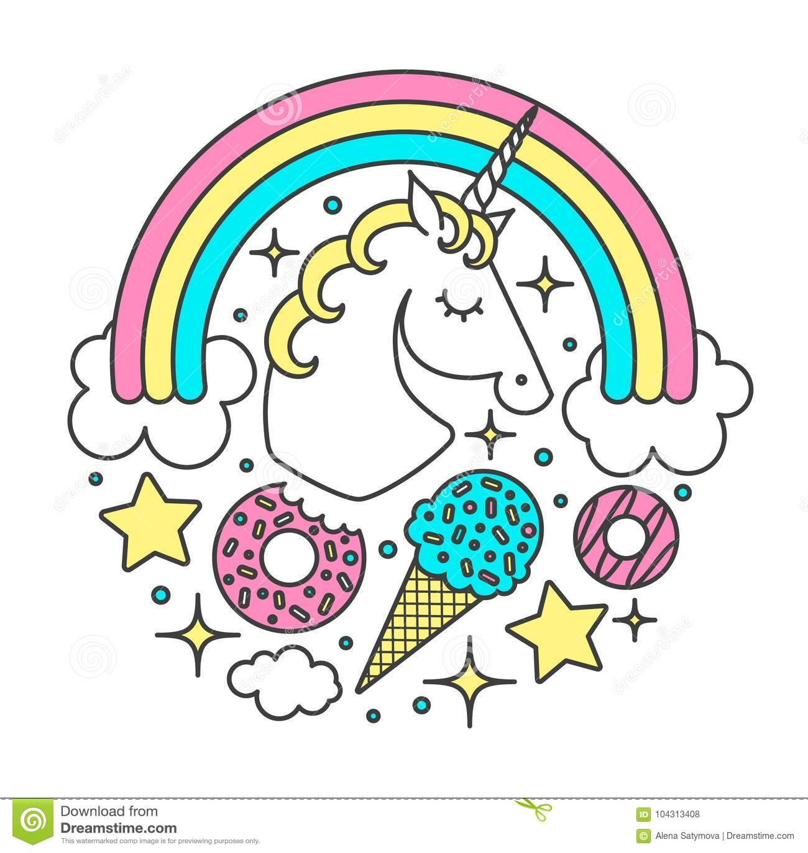 Wektorowy okręgu skład z jednorożec, tęcza, chmury, gwiazdy, lody, donuts Kreskówka Stylowy charakter