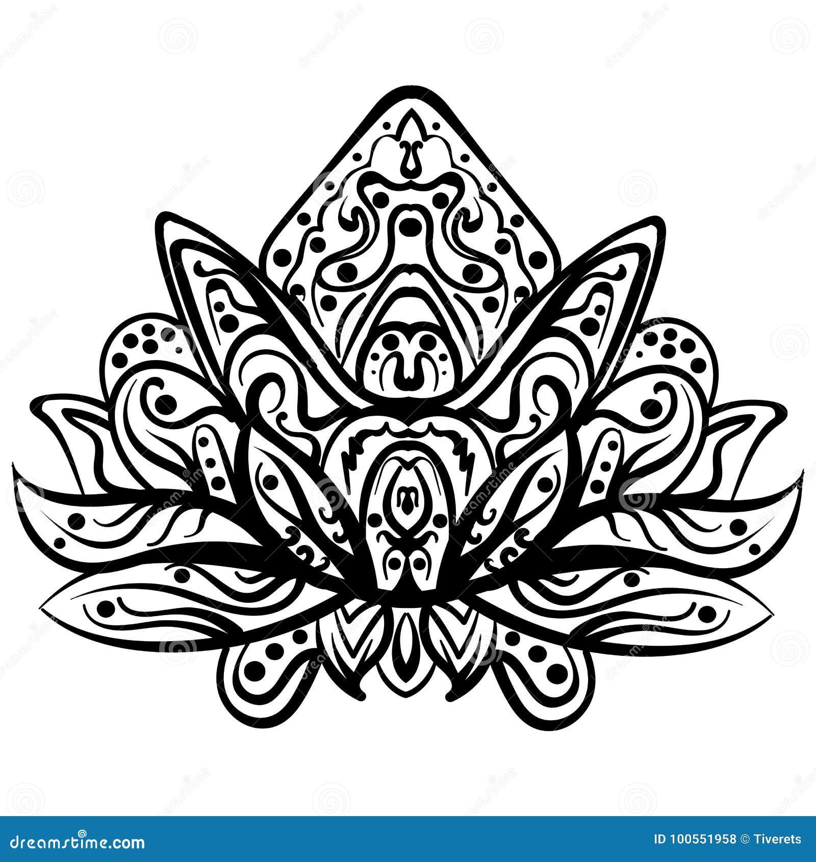 Wektorowy Ornamentacyjny Lotus Etniczny Zentangled Tatuaż