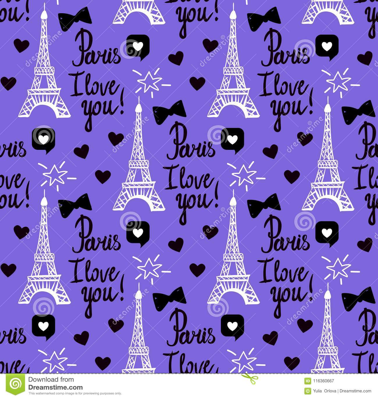 Wektorowy Paryż kocham ciebie bezszwowy wzór Wręcza rysunkowego czerń set wieża eifla, inskrypcj pisać list