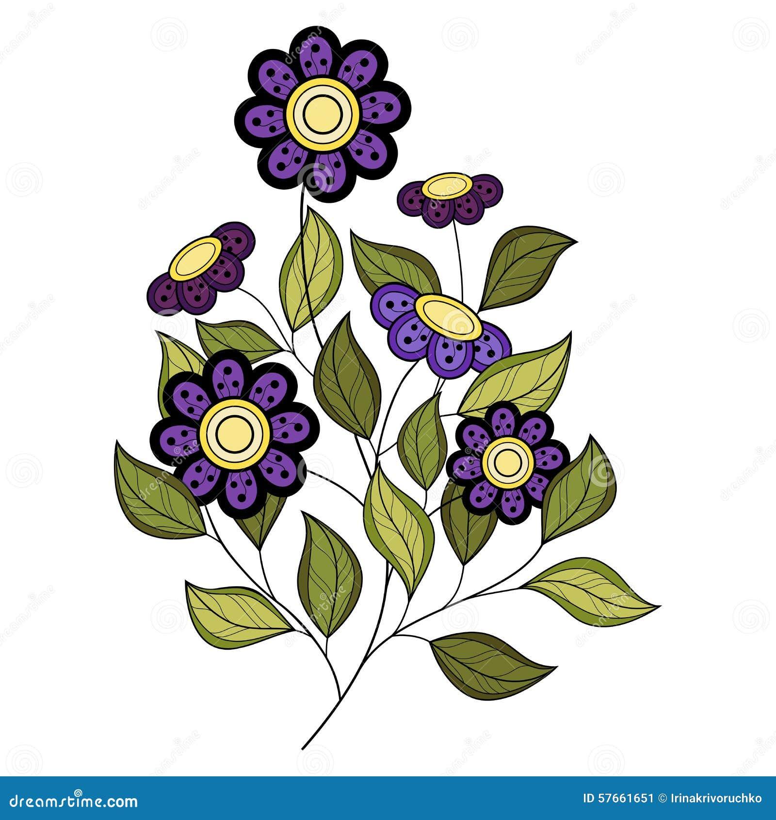Wektorowy Piękny Barwiony Konturowy kwiat